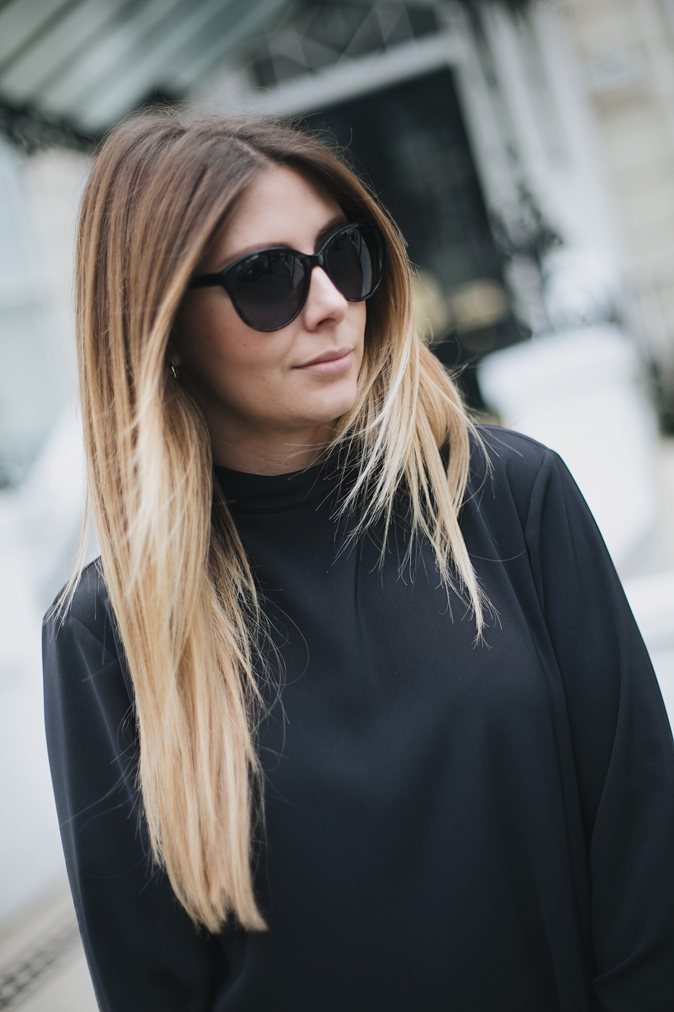 cat eye sunglasses, black dress