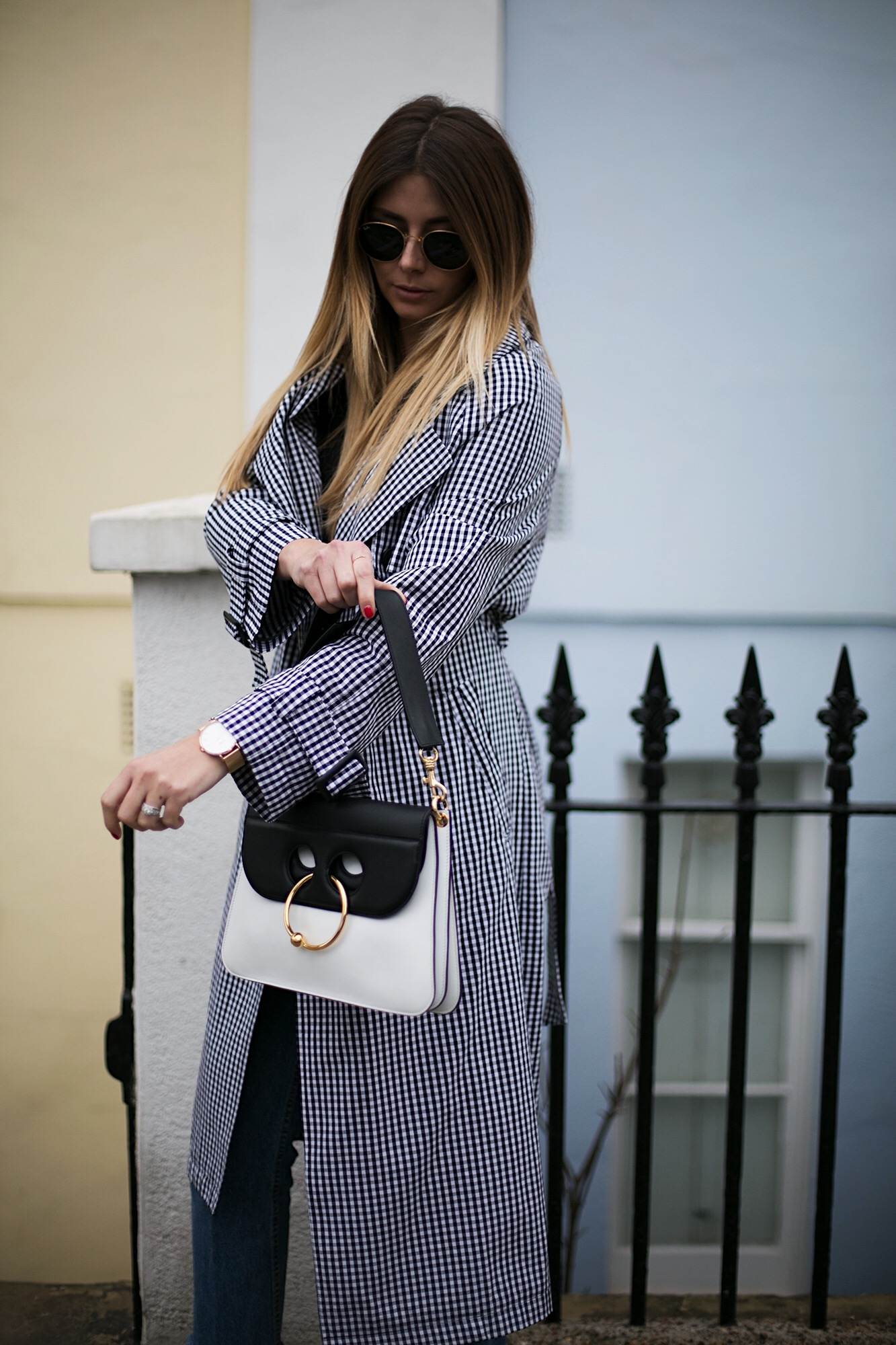 J.W. Anderson Pierce bag, gingham trench coat