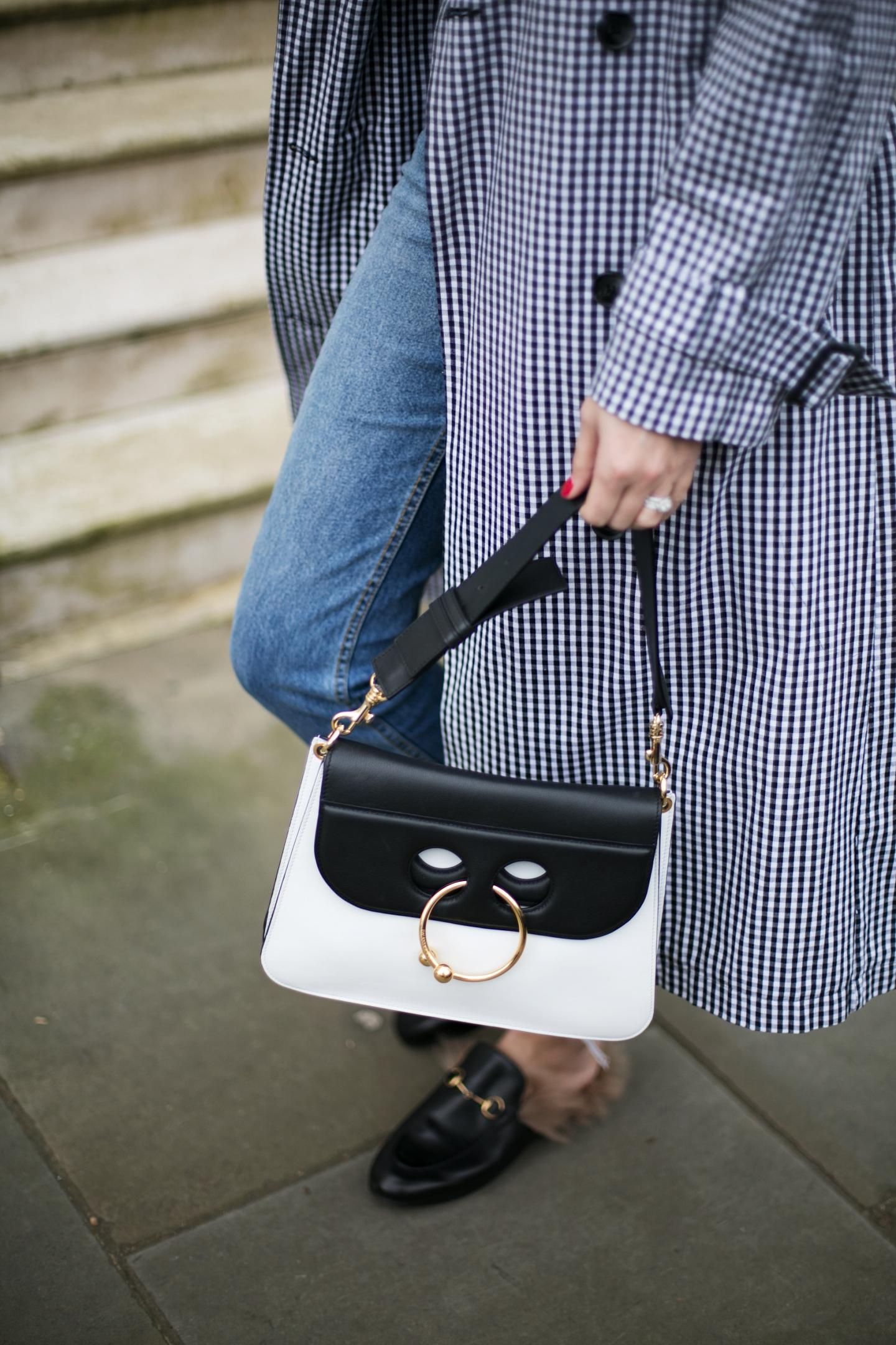 gingham trench coat, frayed hem jeans, Gucci Princetown fur slippers loafers, J.W. Anderson Pierce bag
