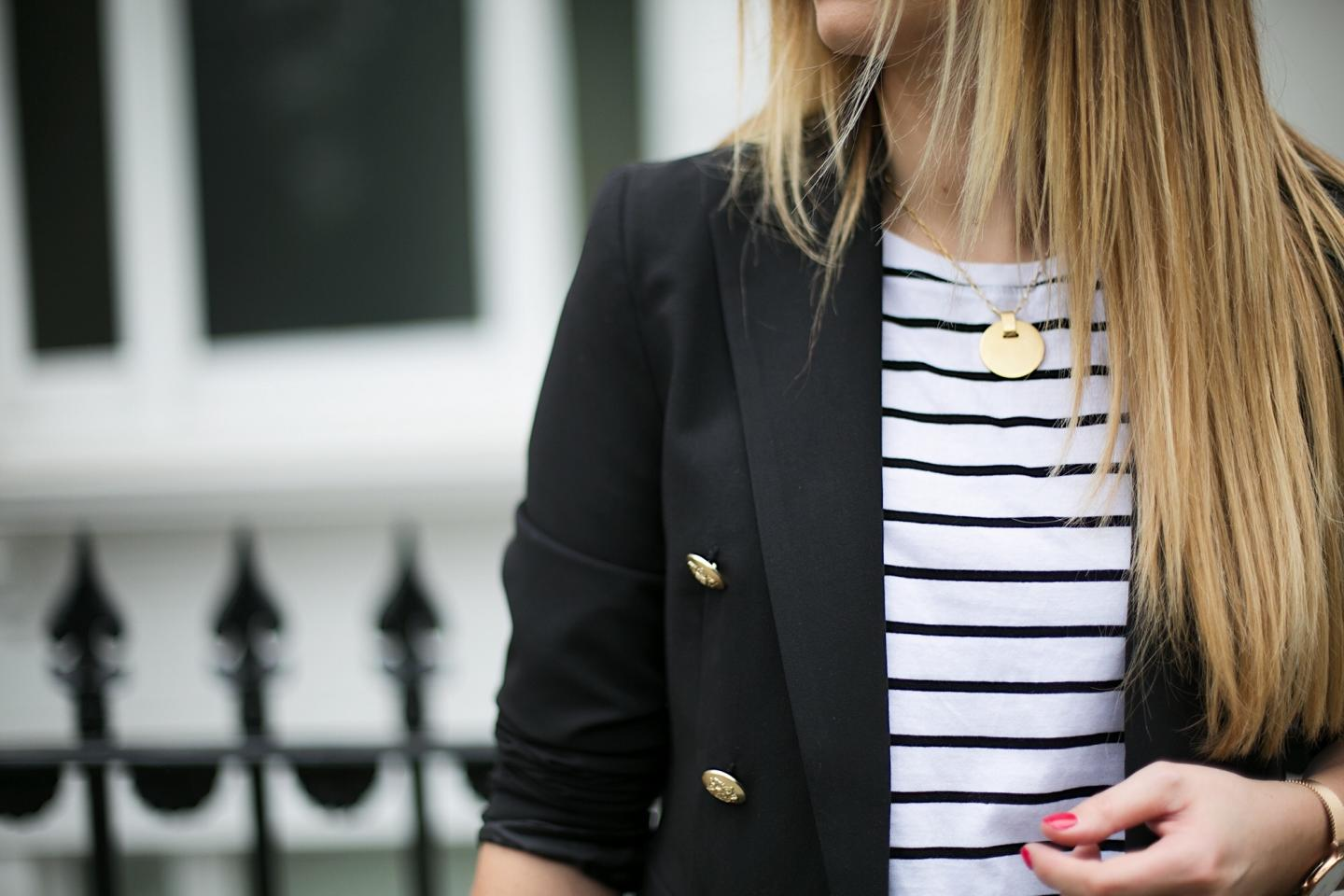 stripe t-shirt, gold disc necklace, black military blazer