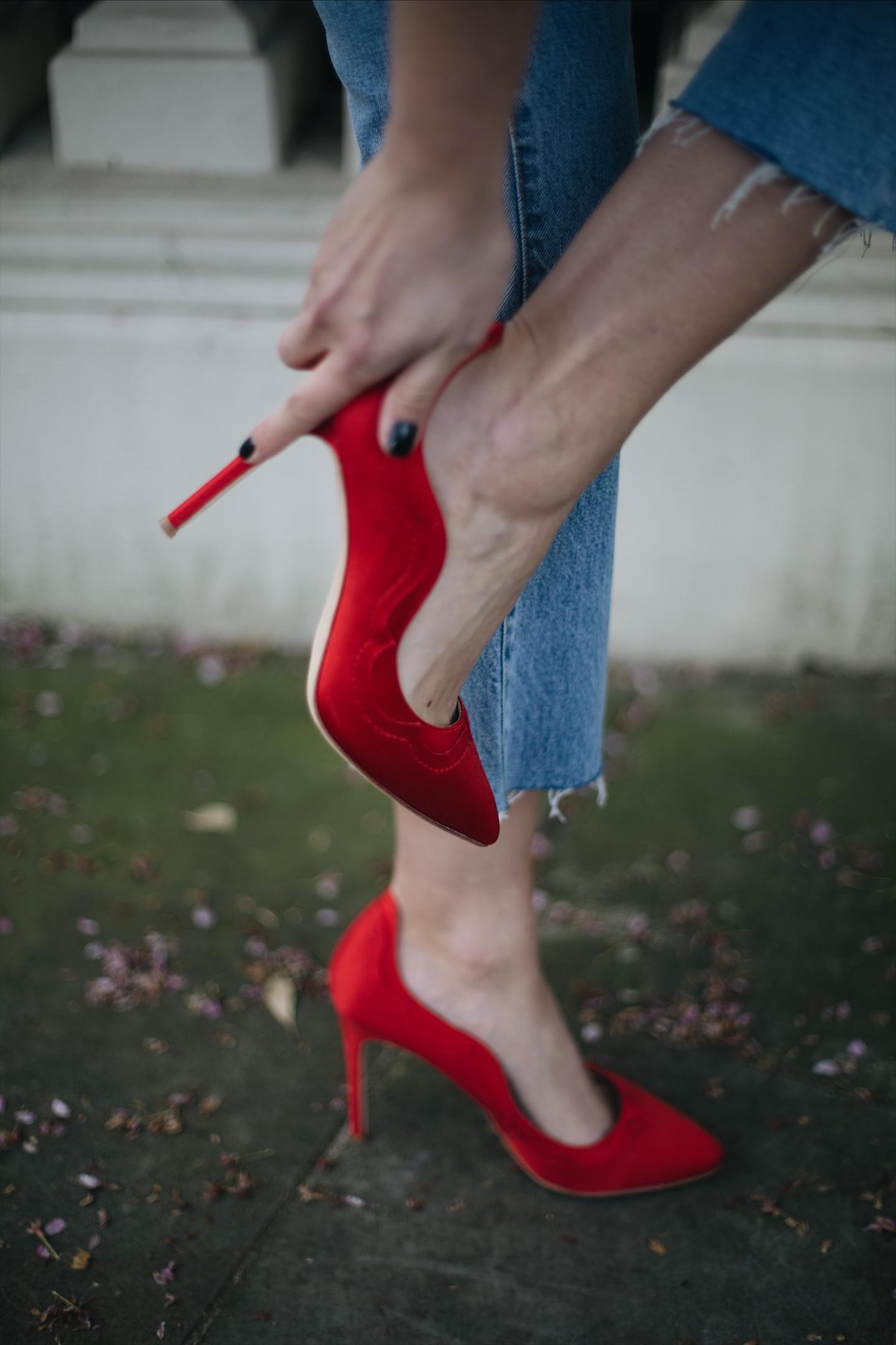 Emma Hill wears Dune loves Rupert Sanderson red 'Princess' heels