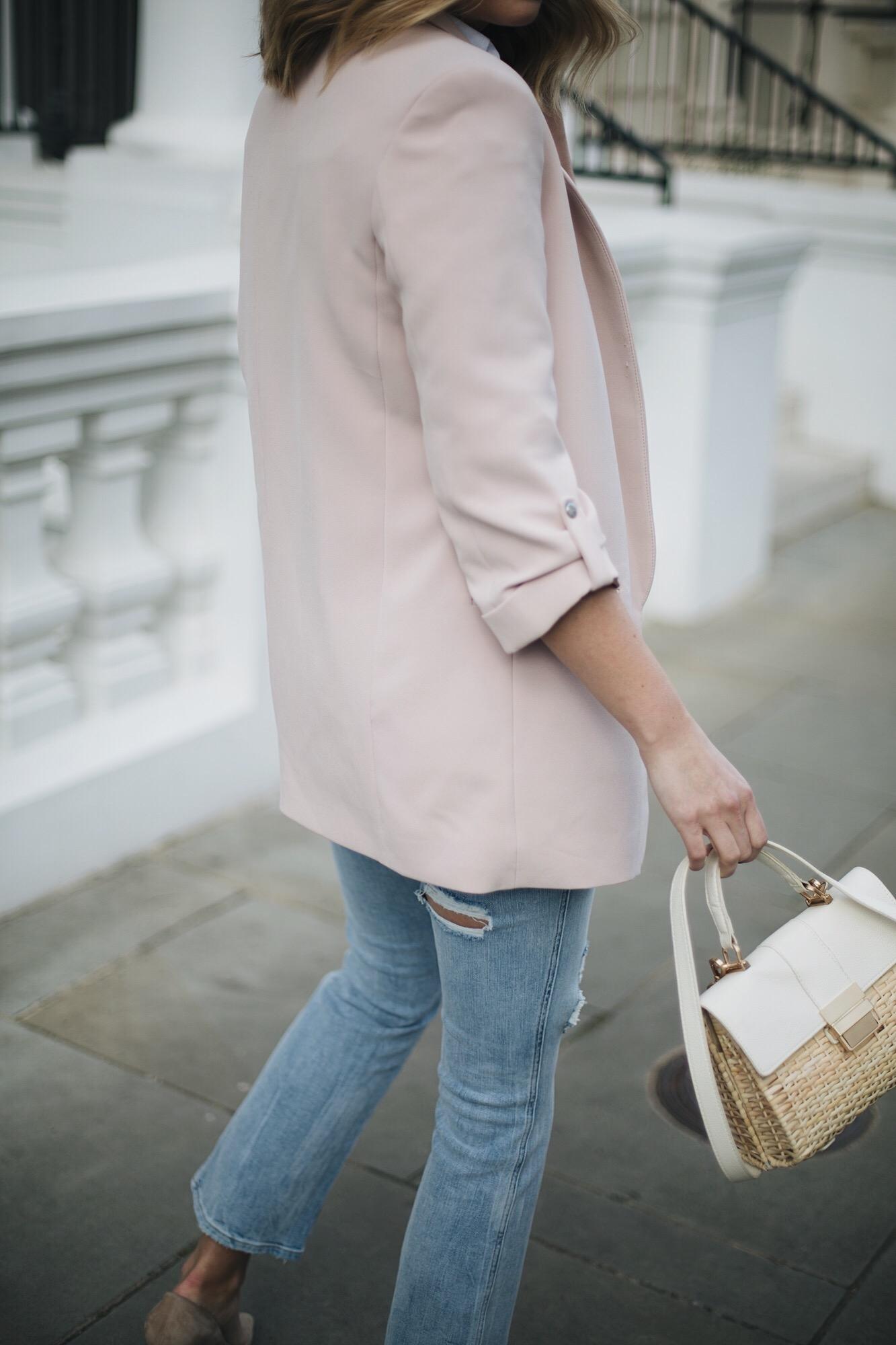 Nude blazer, basket bag, cropped flare jeans