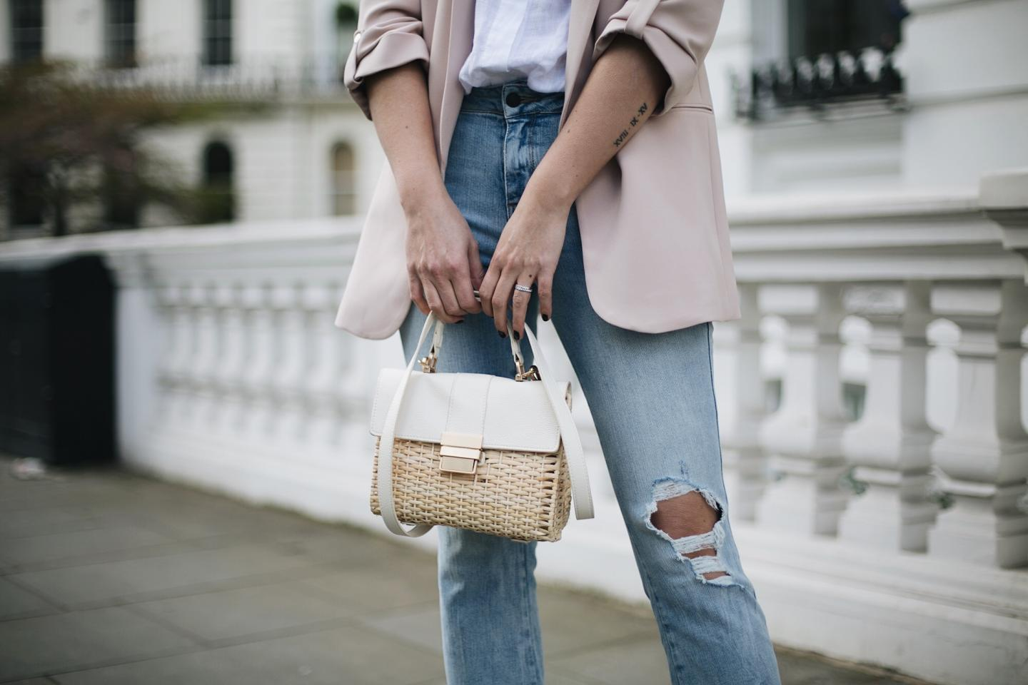 nude blazer, basket bag, ripped bleach light wash cropped flare jeans, beige suede Jimmy Choo Romy 85 court shoes, chic spring outfit