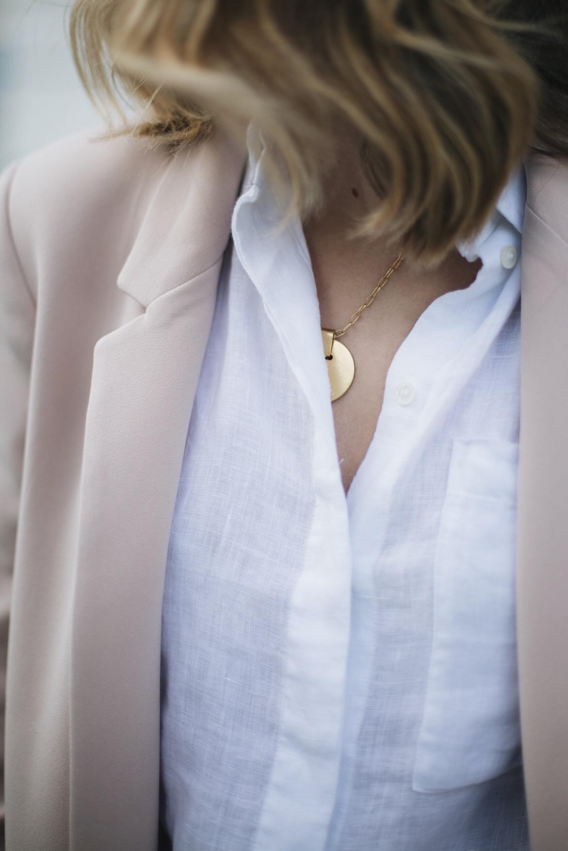 white linen shirt, nude blazer, gold disc necklace