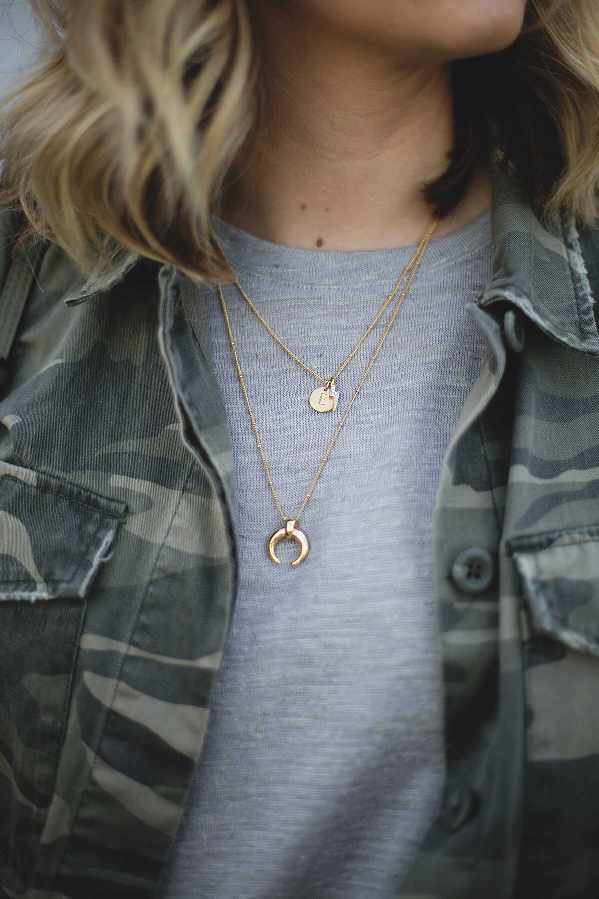 camouflage jacket, grey t-shirt, gold missoma jewellery worn by Emma Hill of EJSTYLE