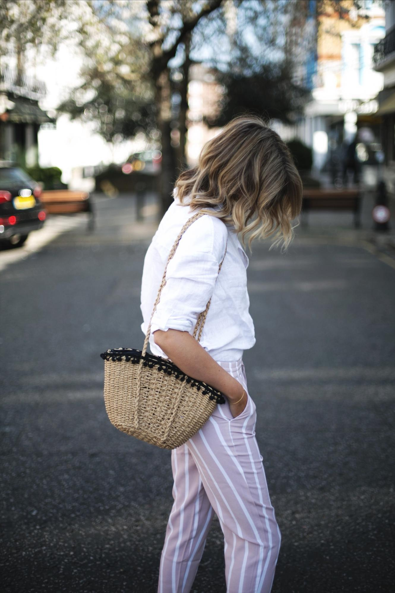 casual stripe trousers, basket bag, white linen shirt, summer outfit