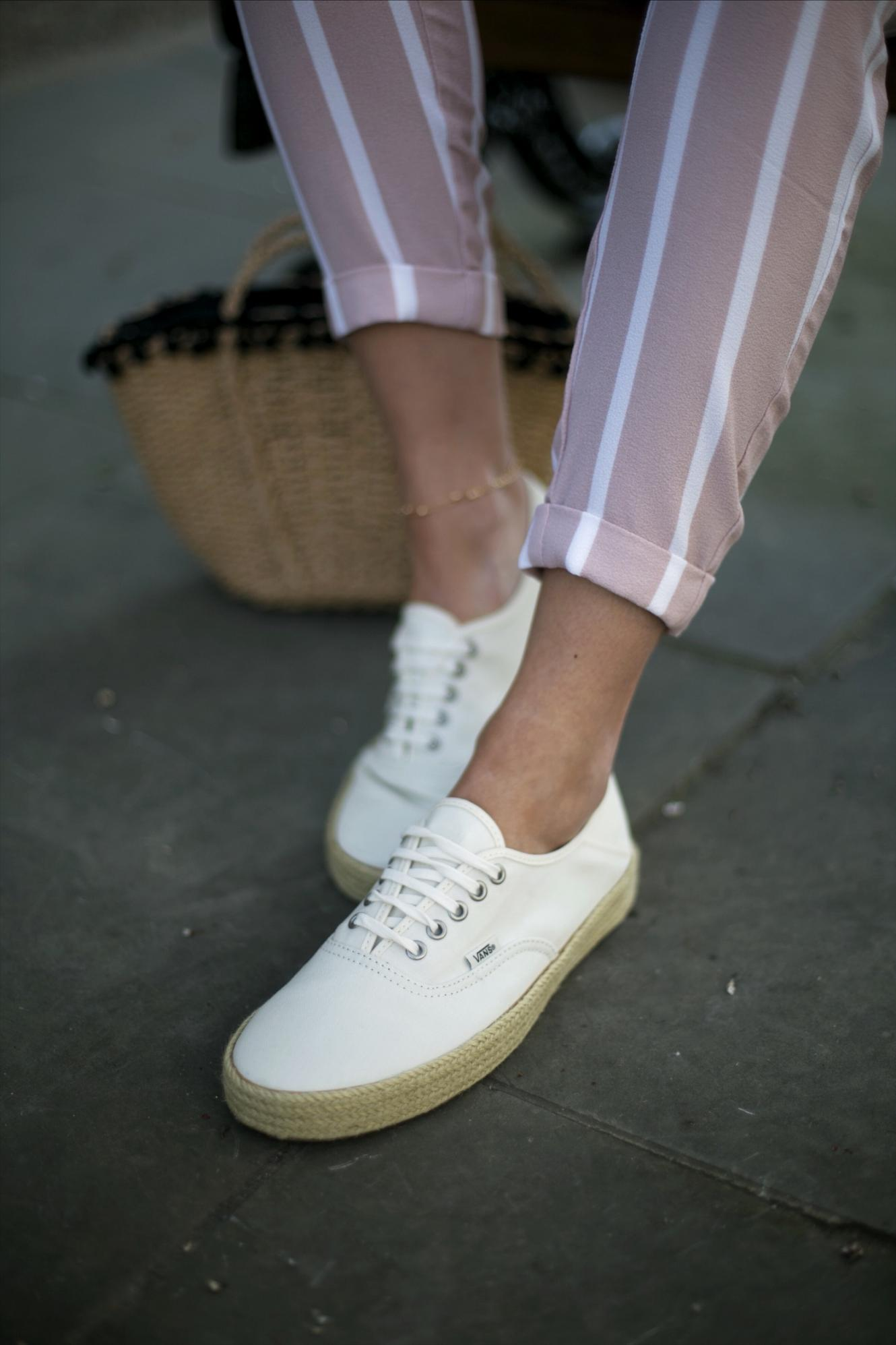 Vans espadrilles canvas lace up flat summer shoes, basket bag, pink stripe casual trousers