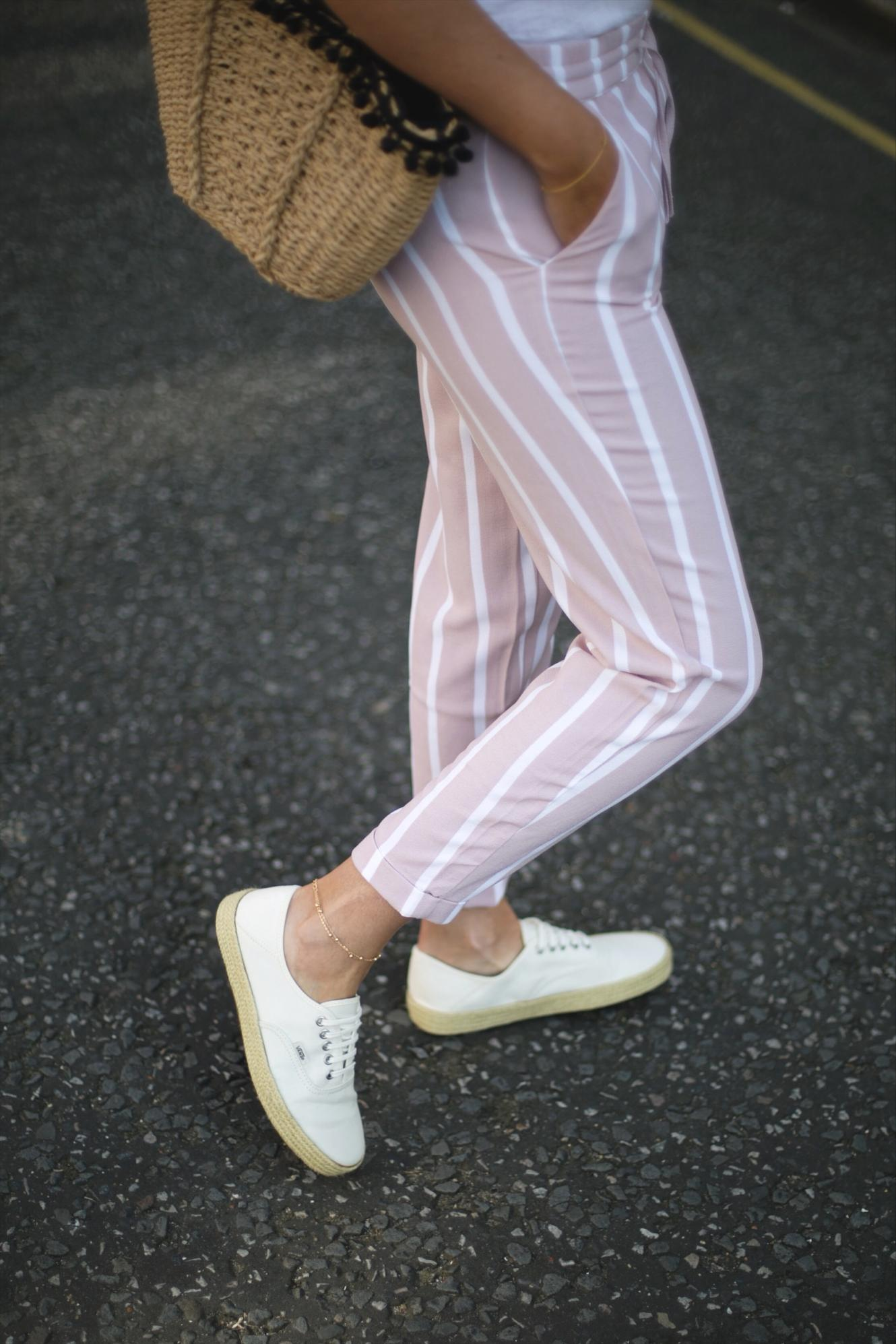 pink stripe trousers, basket bag with pom poms, Vans espadrille lace ups