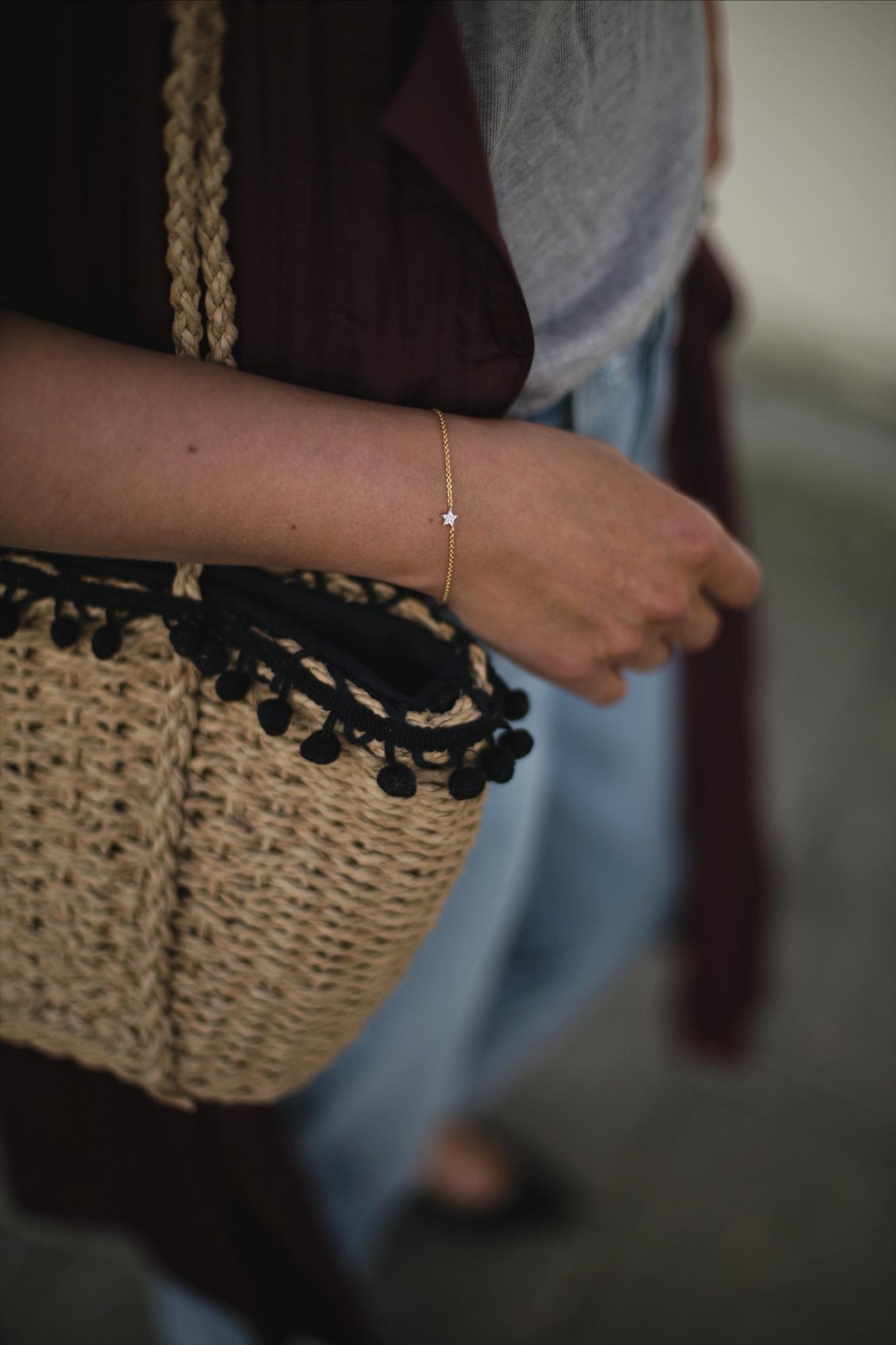 dainty gold pave star bracelet, straw basket bag, outfit details