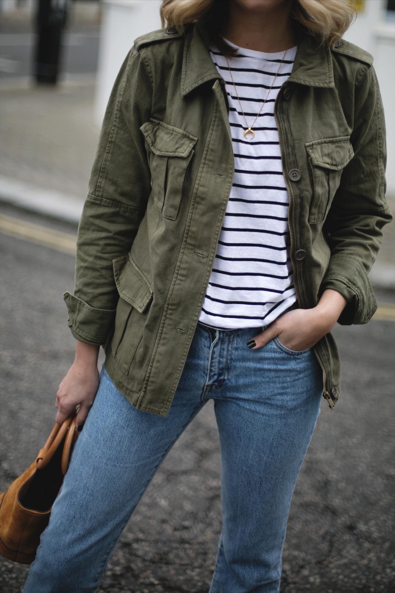 Simon Miller tan nubuck suede Bonsai bag with ring handle, khaki utility army jacket, stripe t-shirt, denim, wedge espadrilles