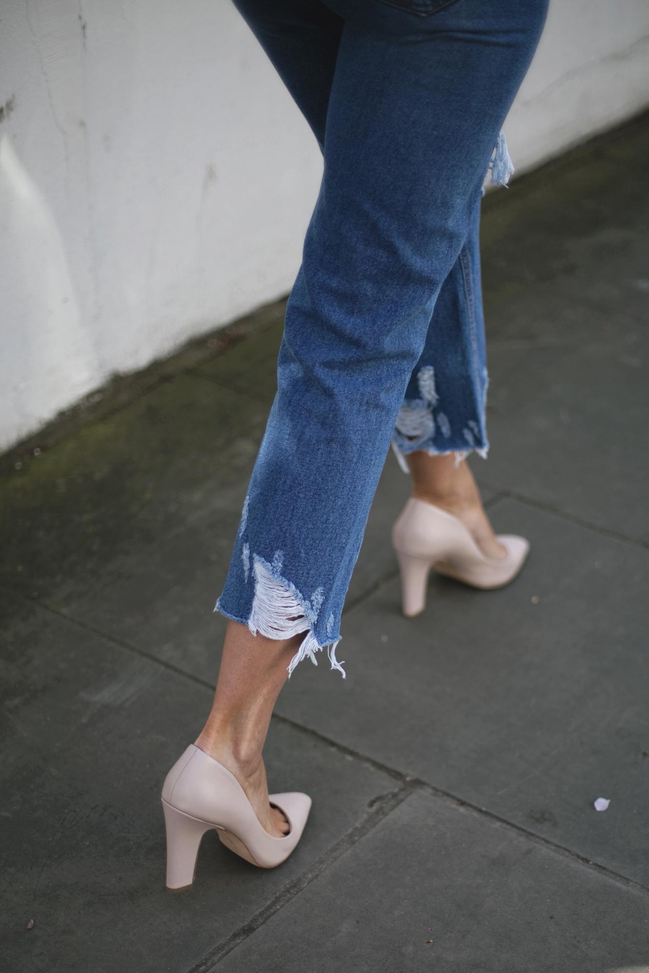 ripped hem jeans, nude heels