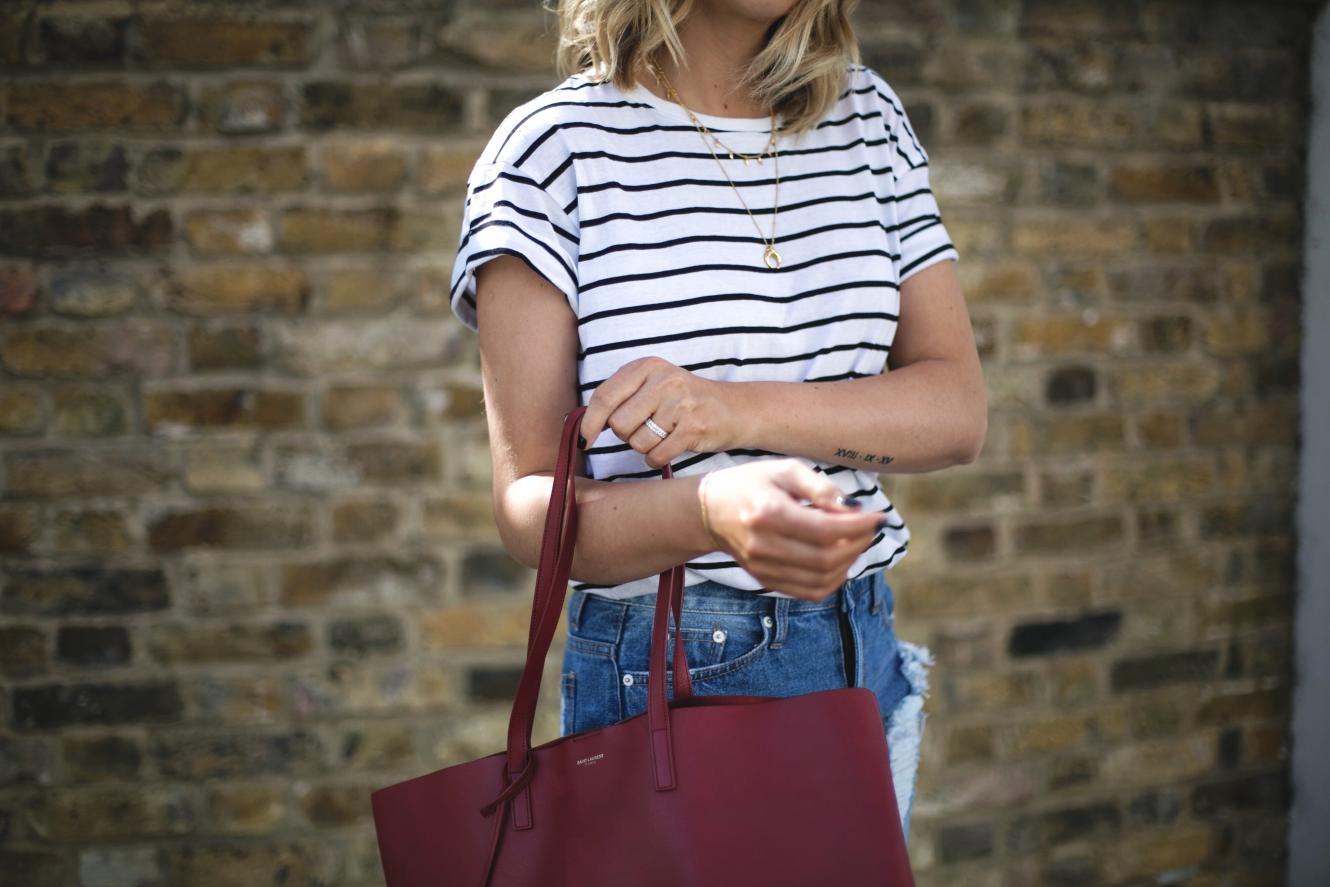 stripe t-shirt, gold layered necklaces, red saint Laurent YSL shopper tote bag