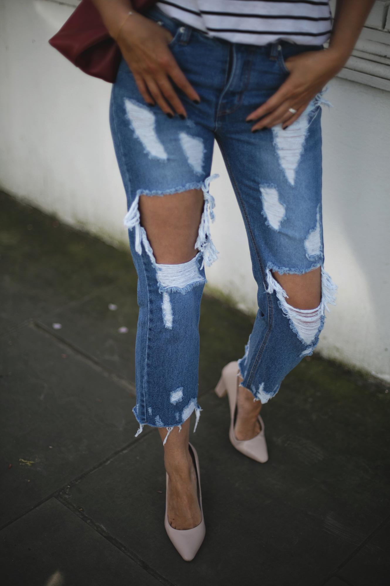 ripped jeans, stripe t-shirt, nude heels