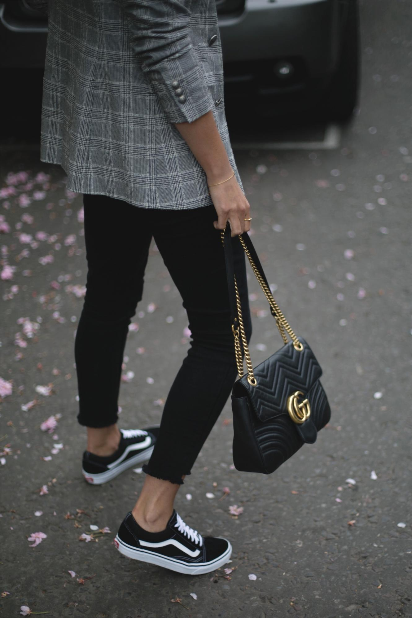 Vans old skool, stepped hem black skinny jeans, check blazer, Gucci Marmont bag, casual outfit