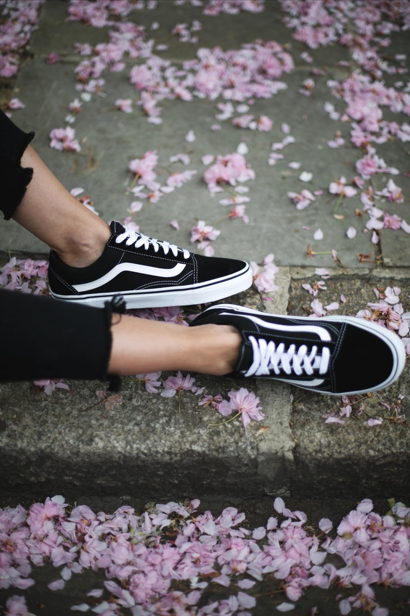 vans black old skool trainers, black stepped hem skinny jeans