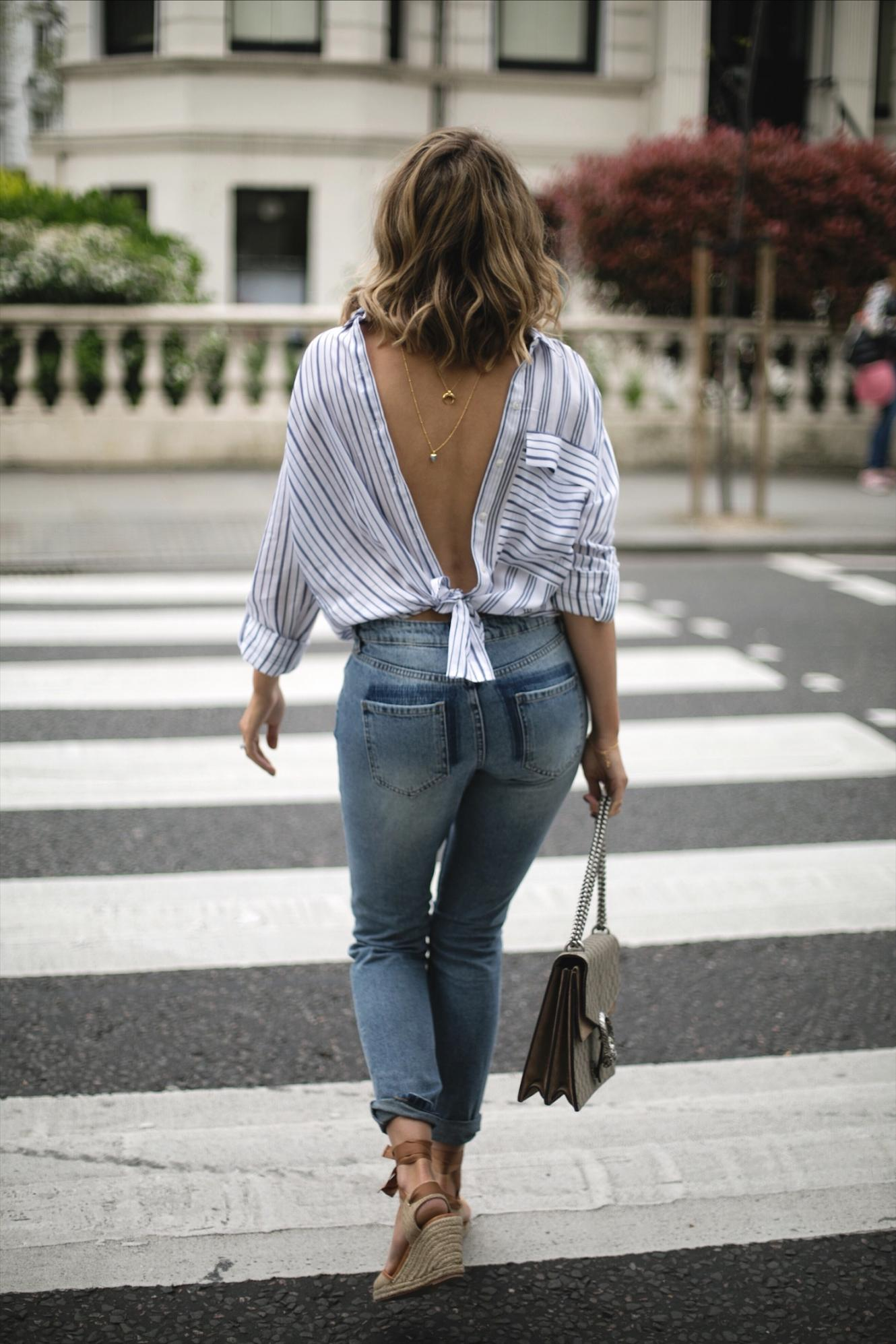 Emma Hill wear stripe shirt backwards, gold layered necklaces, Gucci Dionysus bag, patch pocket jeans