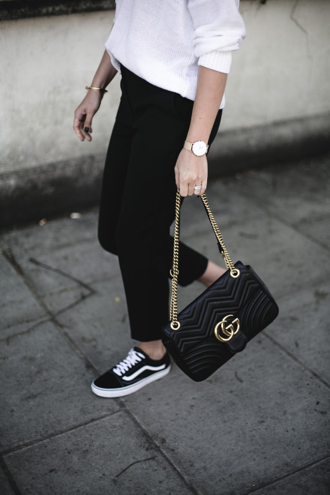 Vans old skool, white summer knit jumper, gold watch, black tailored slim trousers, Gucci Marmont bag