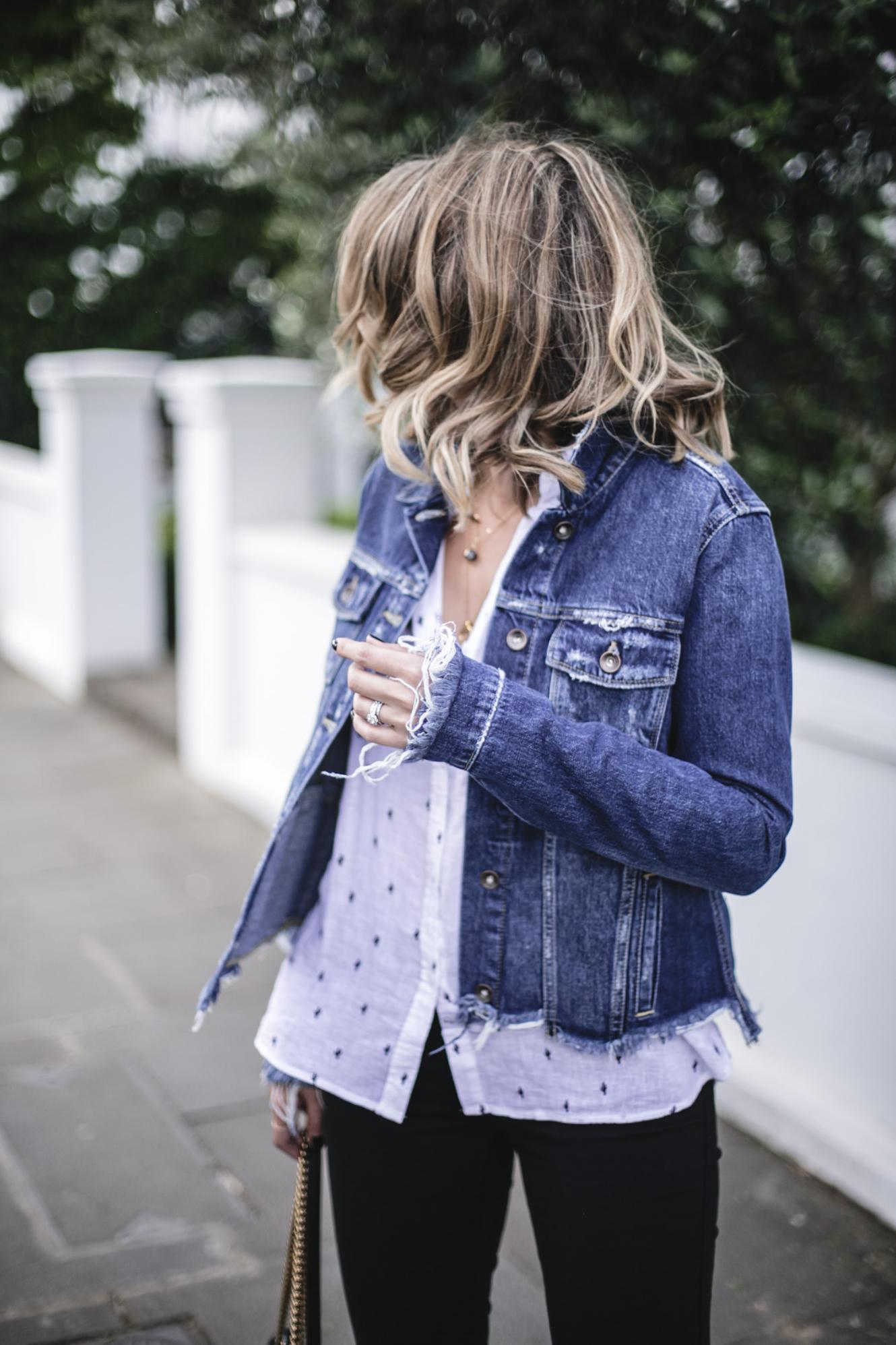 Emma Hill wears Paige frayed denim jacket, Rails white linen cactus print shirt, black skinny jeans