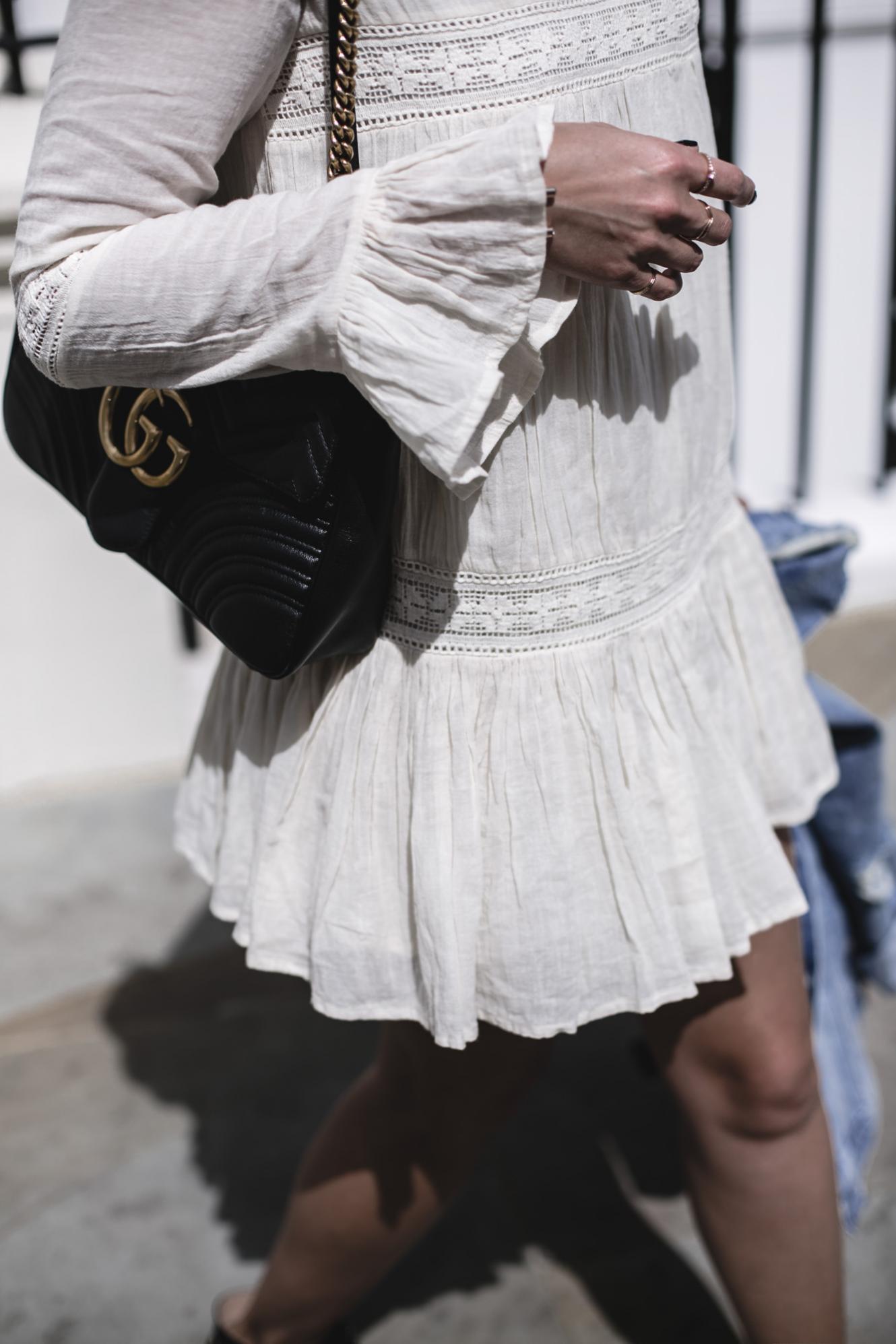 Emma Hill wears Tularosa boho mini dress, Gucci Marmont bag, summer outfit