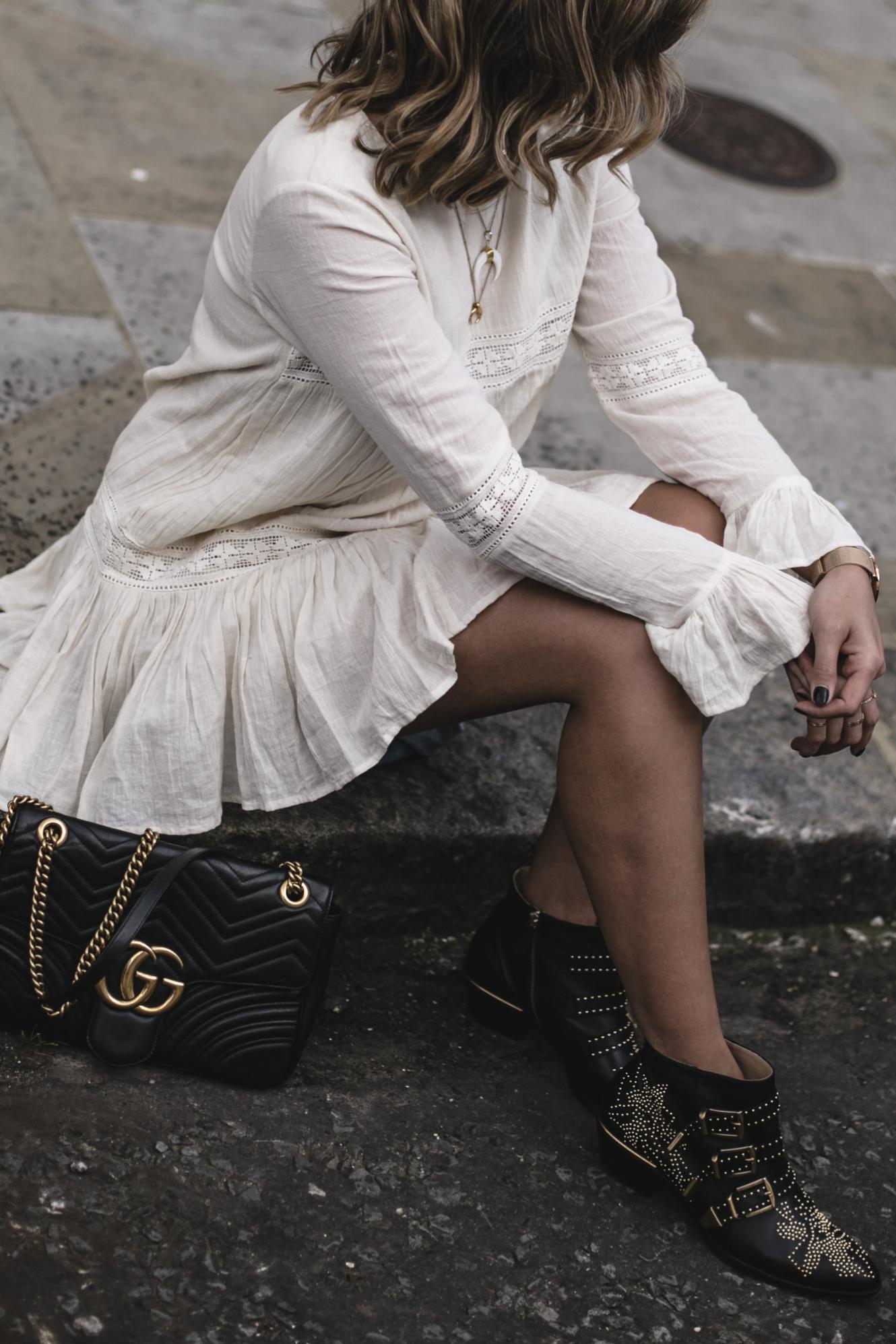 Emma Hill wearing Tularosa boho mini dress, Chloe Susanna boots, Gucci Marmont bag, Summer outfit, festival style