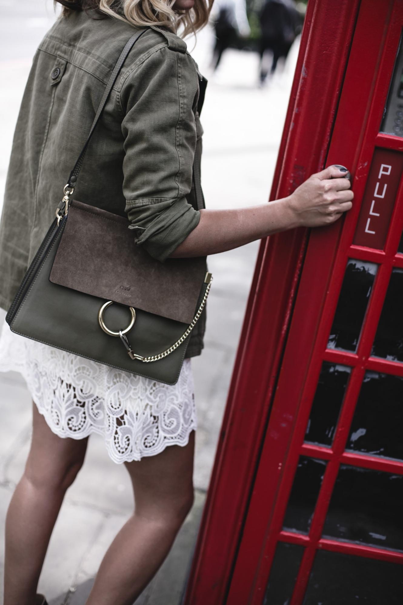EJ Style | Khaki jacket, cream lace dress, Chloe Faye bag