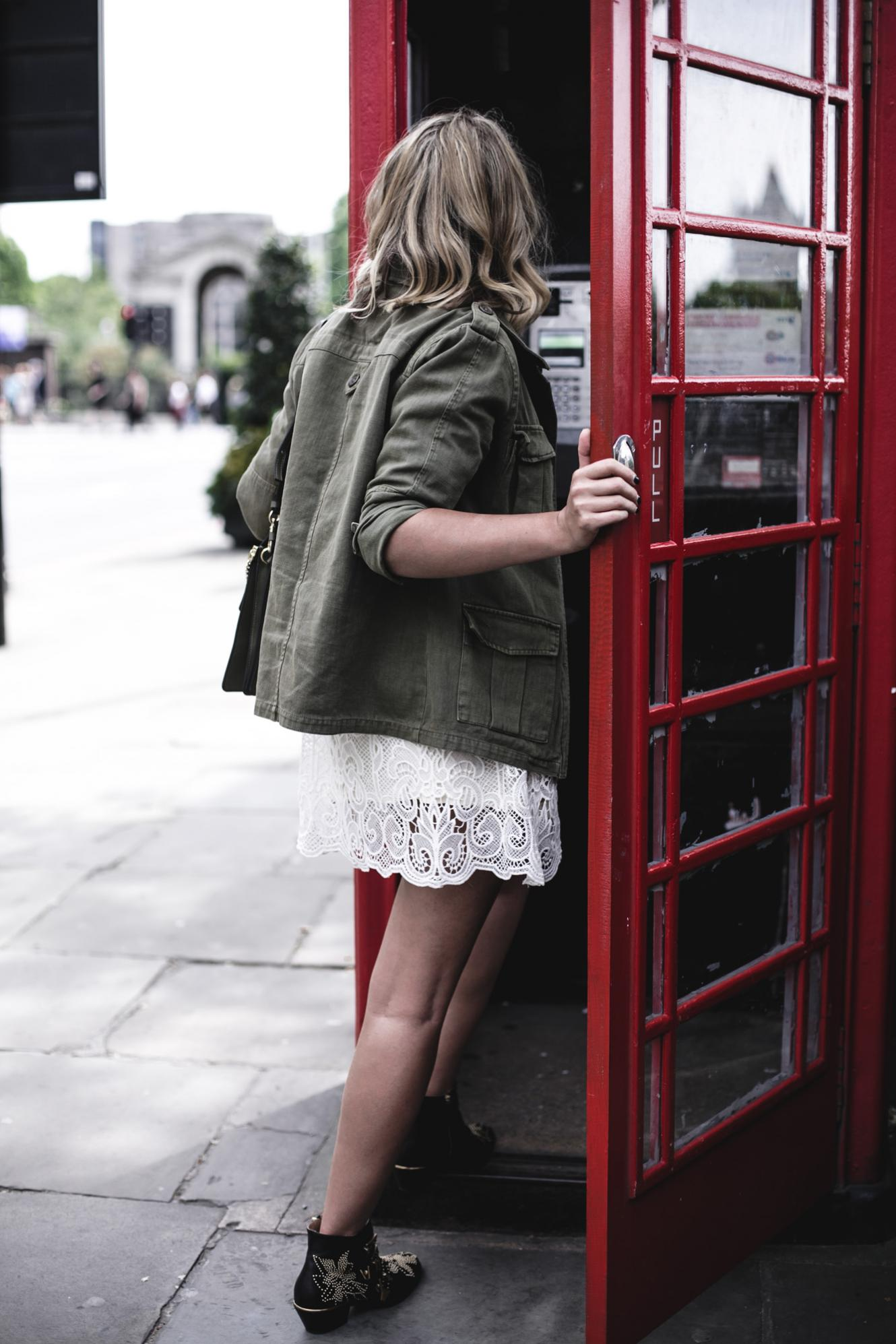 EJ Style | Khaki jacket, cream lace dress, Chloe Faye bag. Chloe Susanna boots, summer outfit