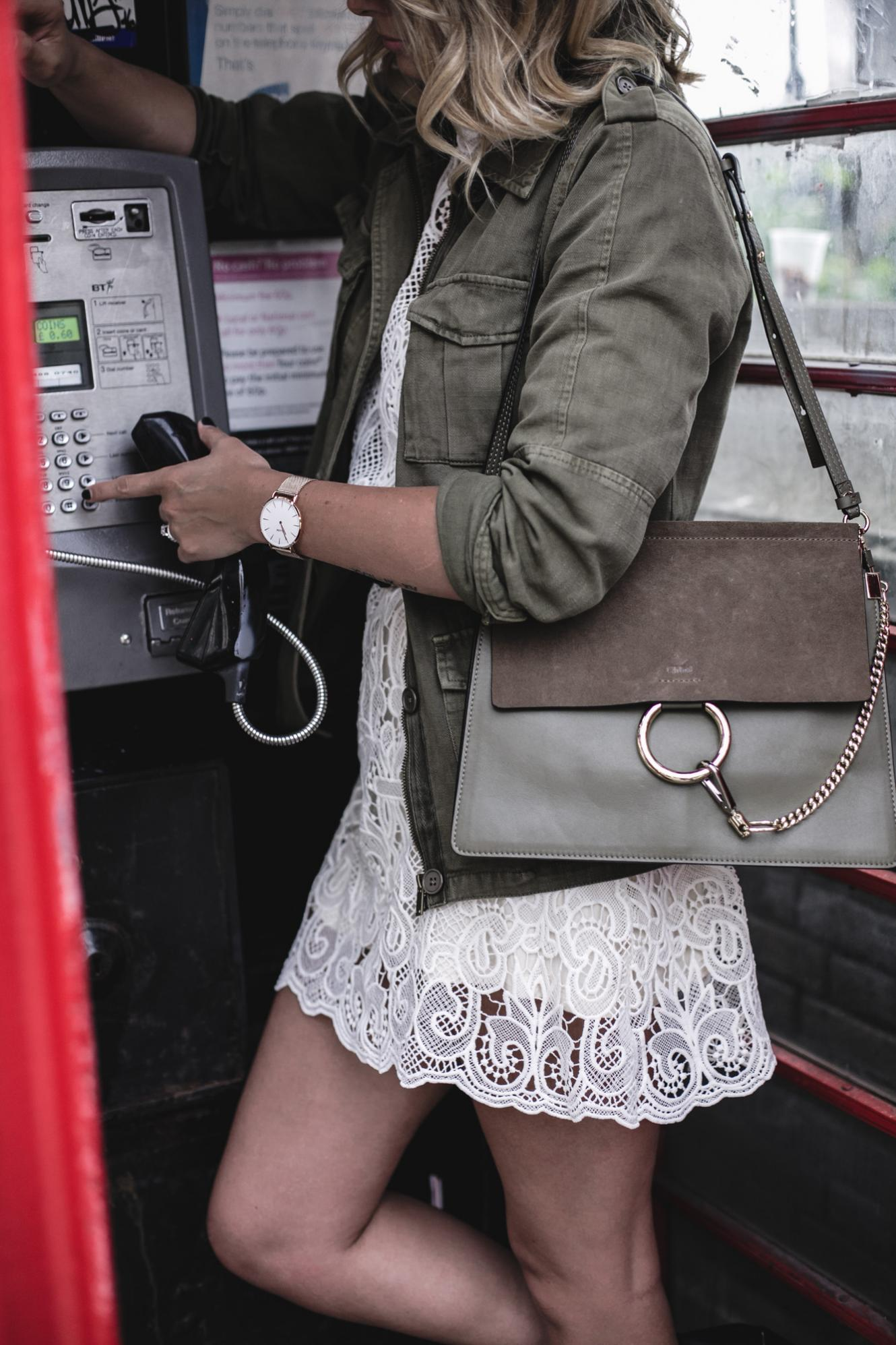EJ Style | Khaki jacket, cream lace dress, Chloe Faye bag, summer outfit