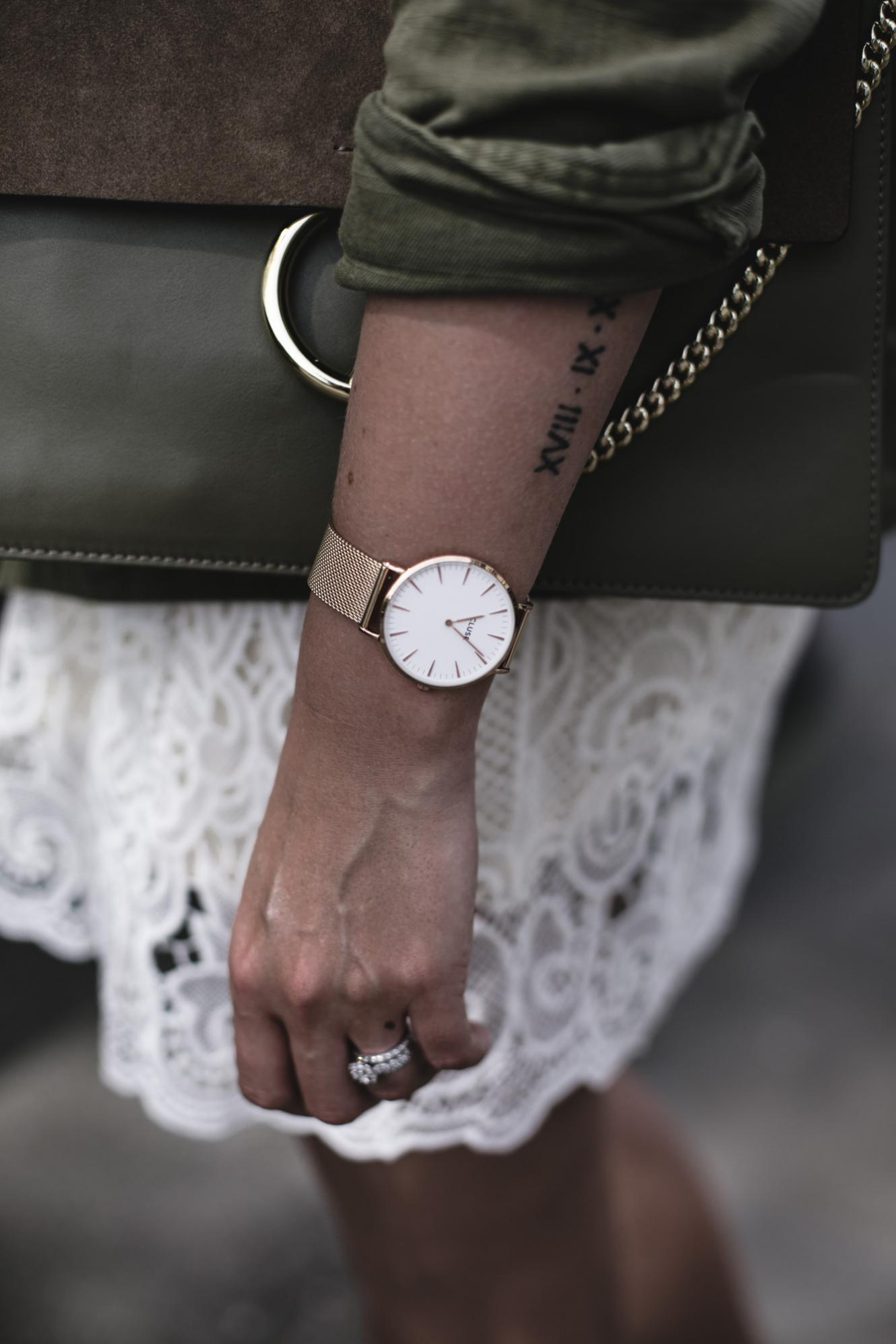 EJ Style | Gold Cluse watch, khaki jacket, Chloe Faye bag, cream lace dress