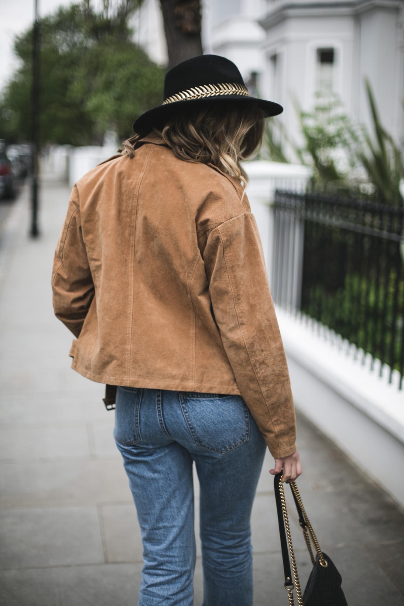 tan suede jacket, black fedora, light wash jeans