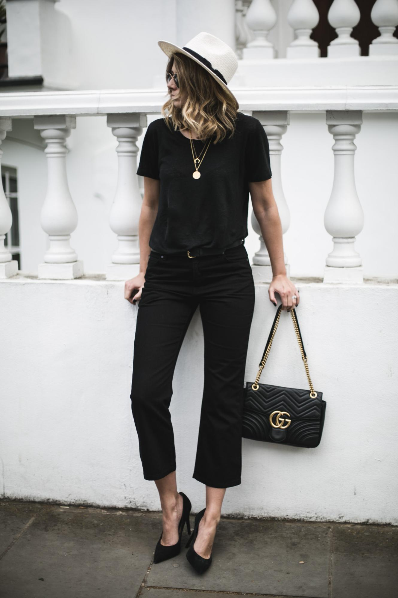 Emma Hill wearing an all black outfit with Panama hat for Spring