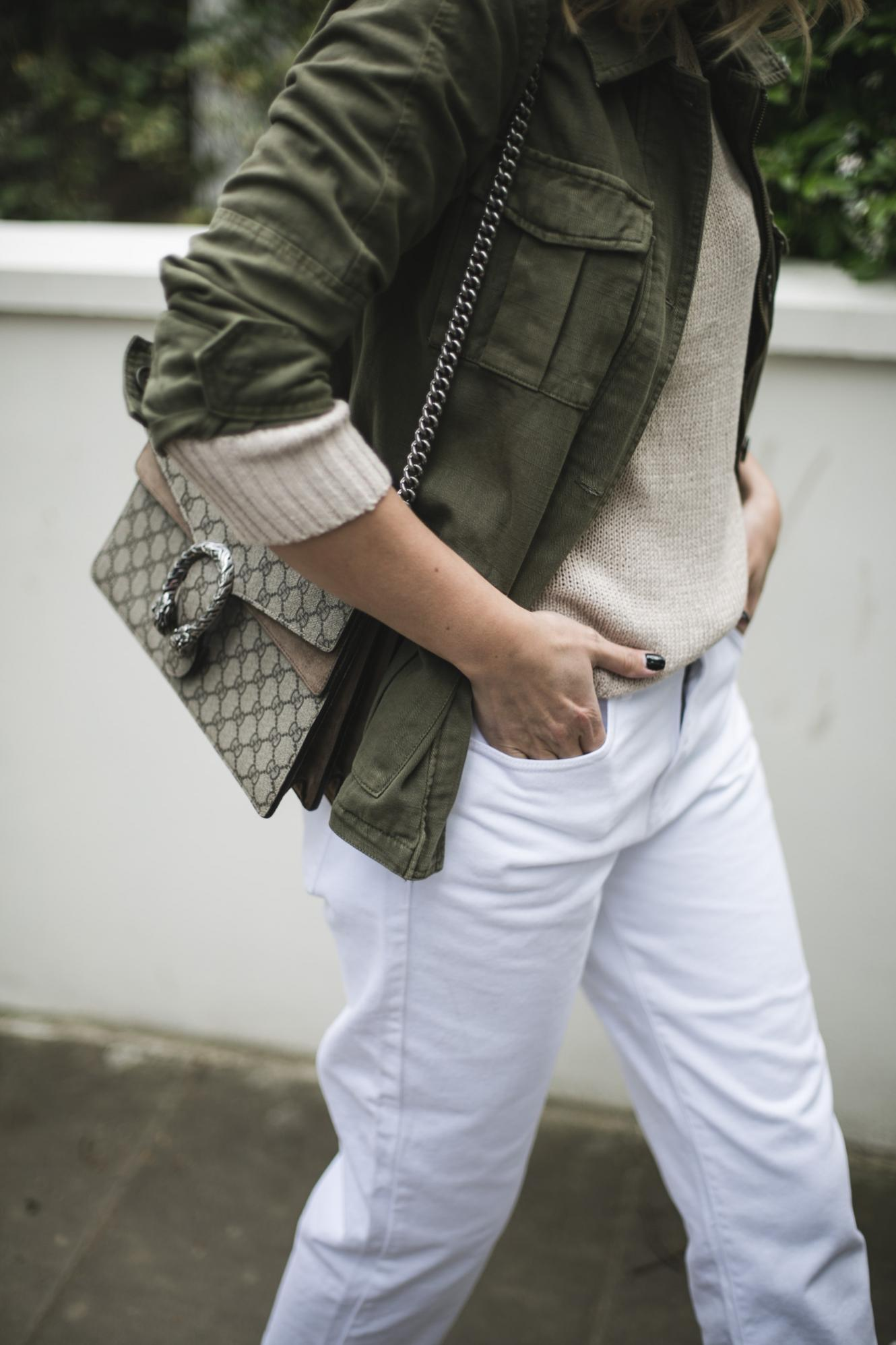khaki jacket, beige knit sweater, white jeans, Gucci Dionysus bag