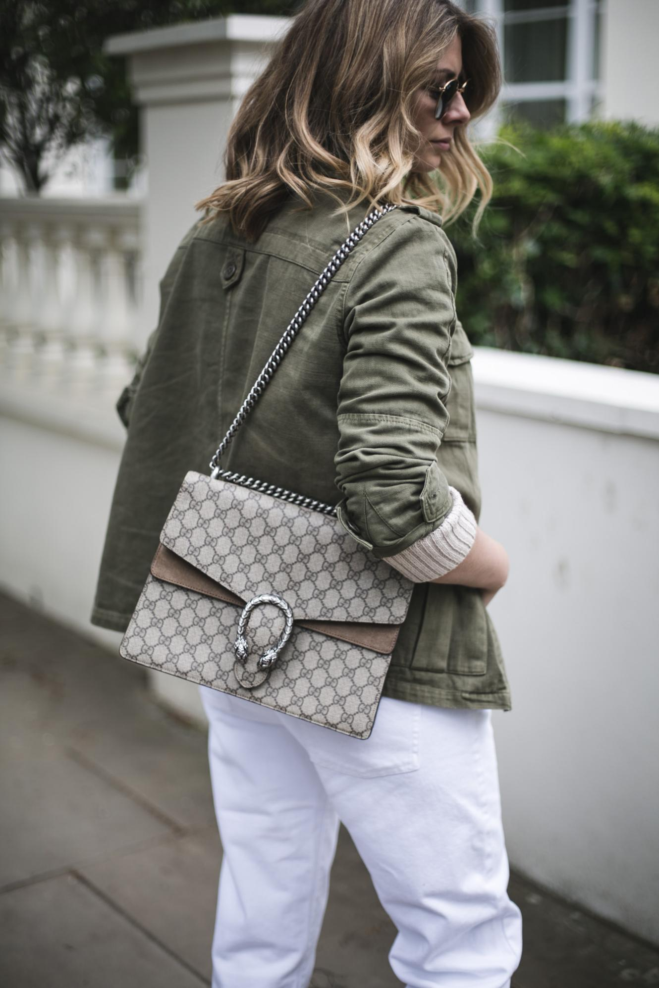 Khaki army jacket, Gucci Dionysus medium bag, white jeans