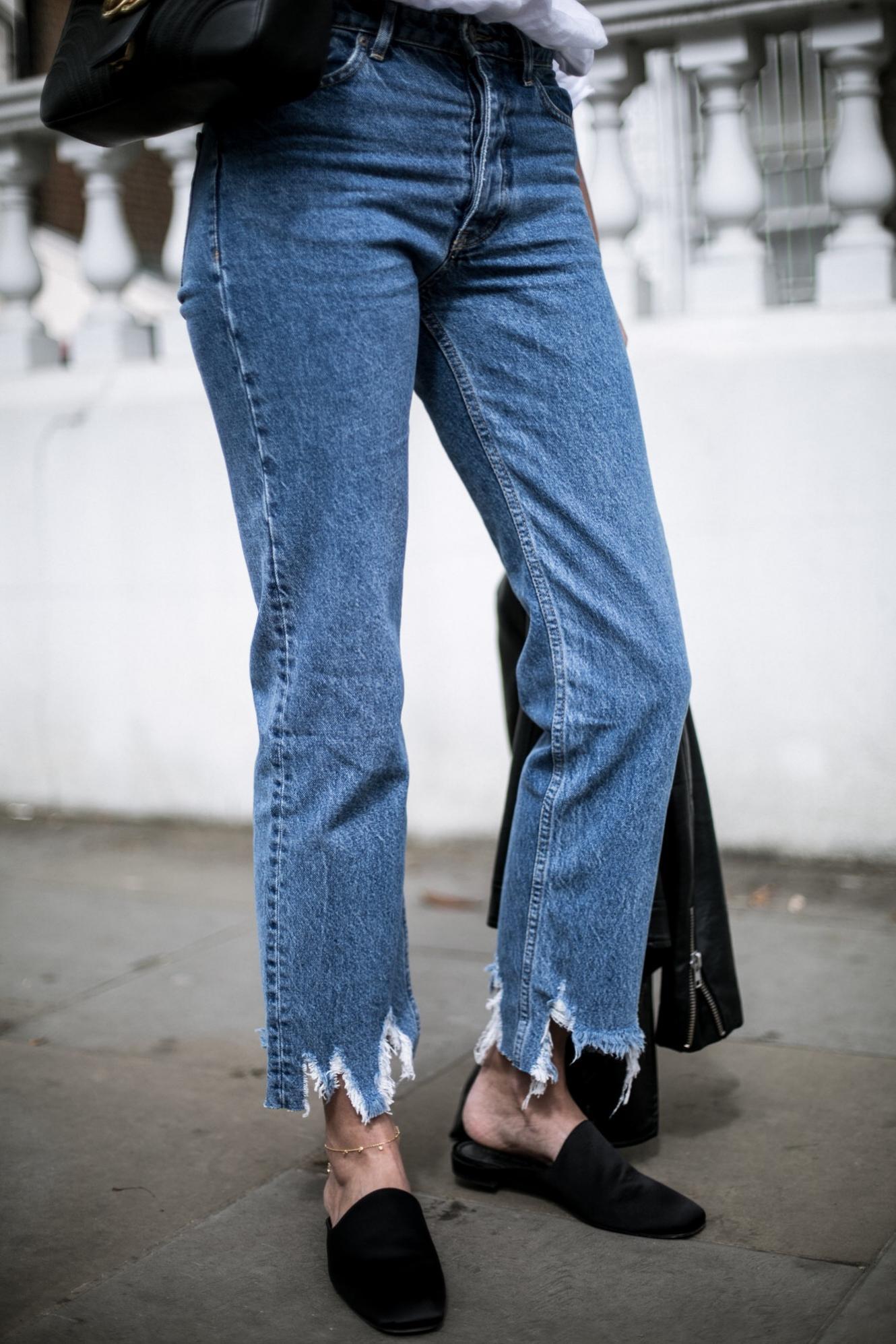distressed raw frayed hem jeans, said Stuart weitzman malarky mules,