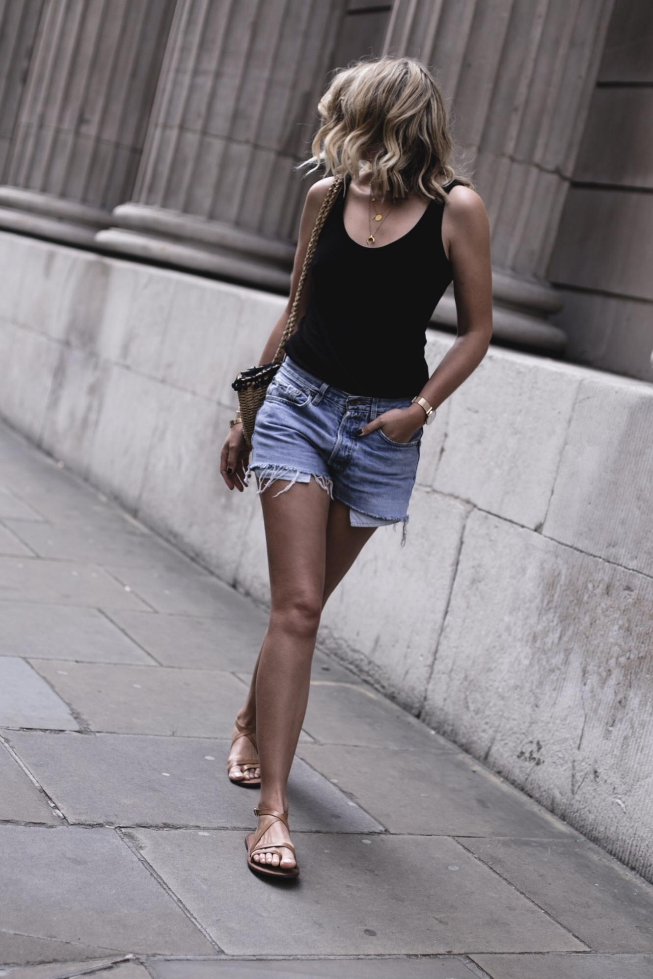 EJSTYLE | Low back black vest top, vintage Levis 501 shorts, straw basket bag, tan leather sandals, summer outfit