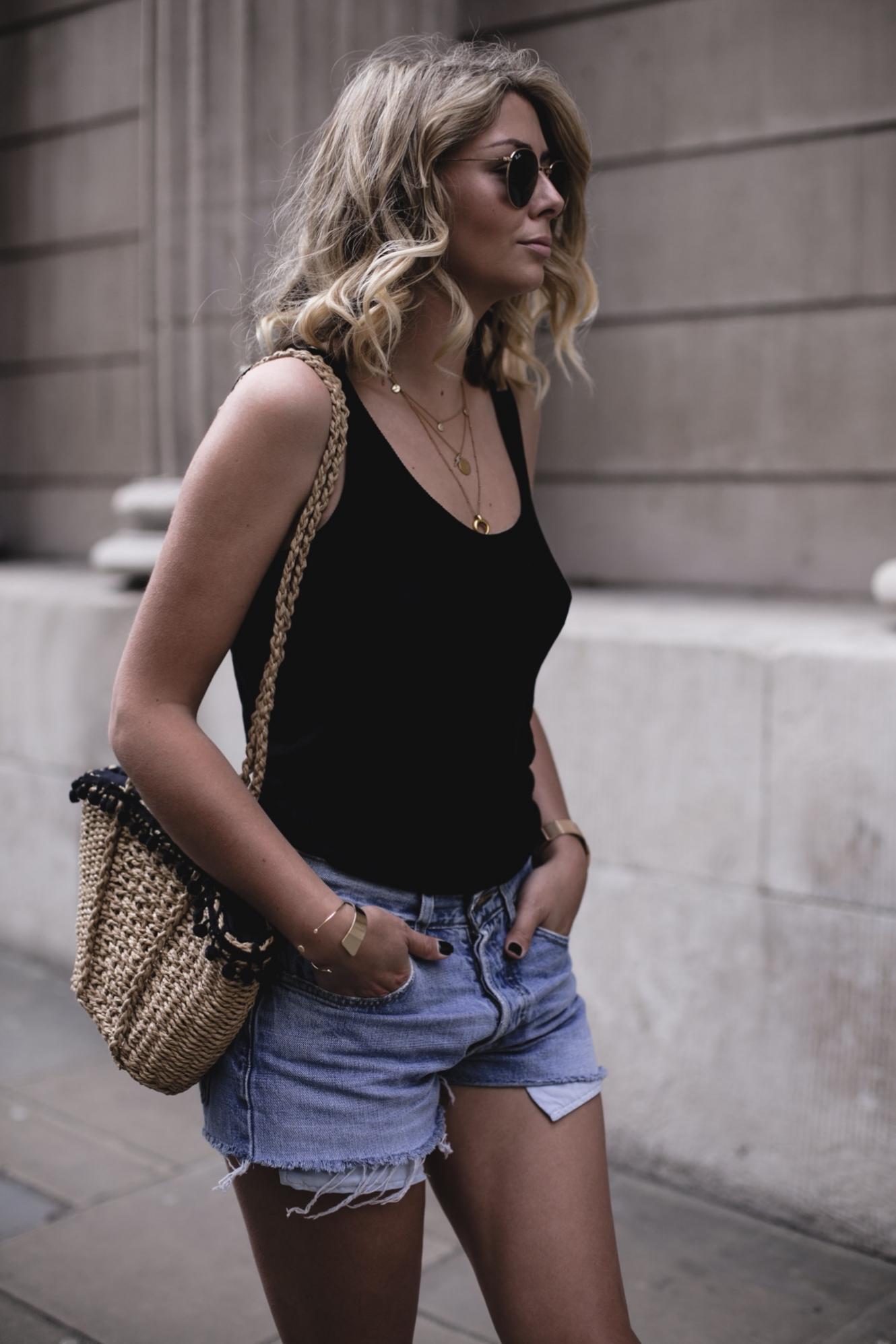 EJSTYLE | Low back black vest top, vintage Levis 501 shorts, straw basket bag, summer outfit