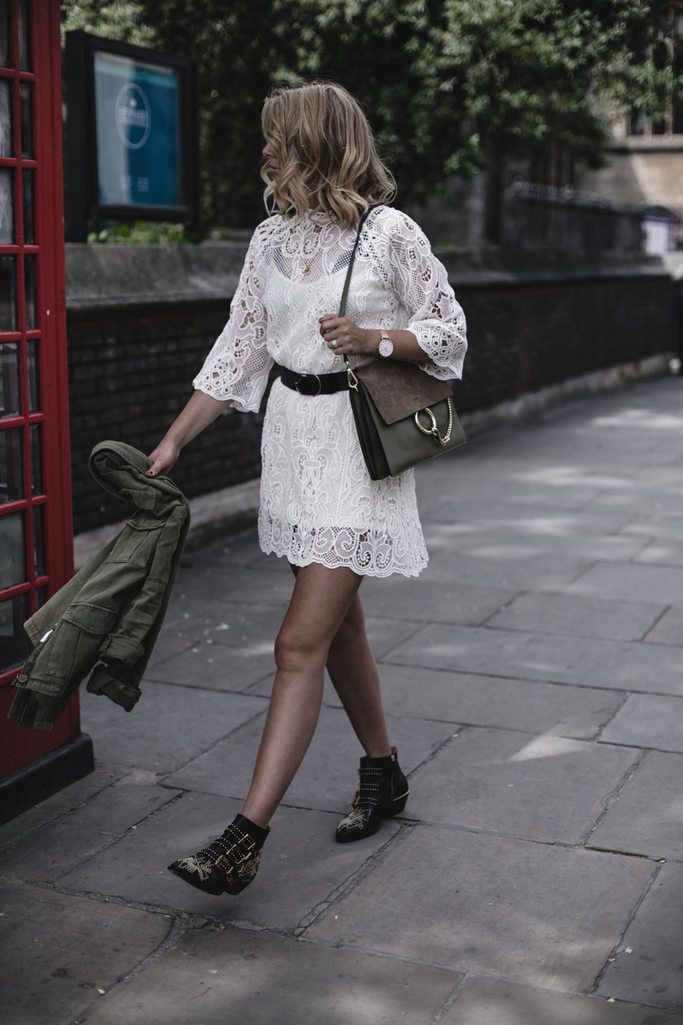 EJ Style | Cream lace dress, black waist belt, khaki jacket, Chloe Faye bag, Chloe Susanna boots, Summer outfit
