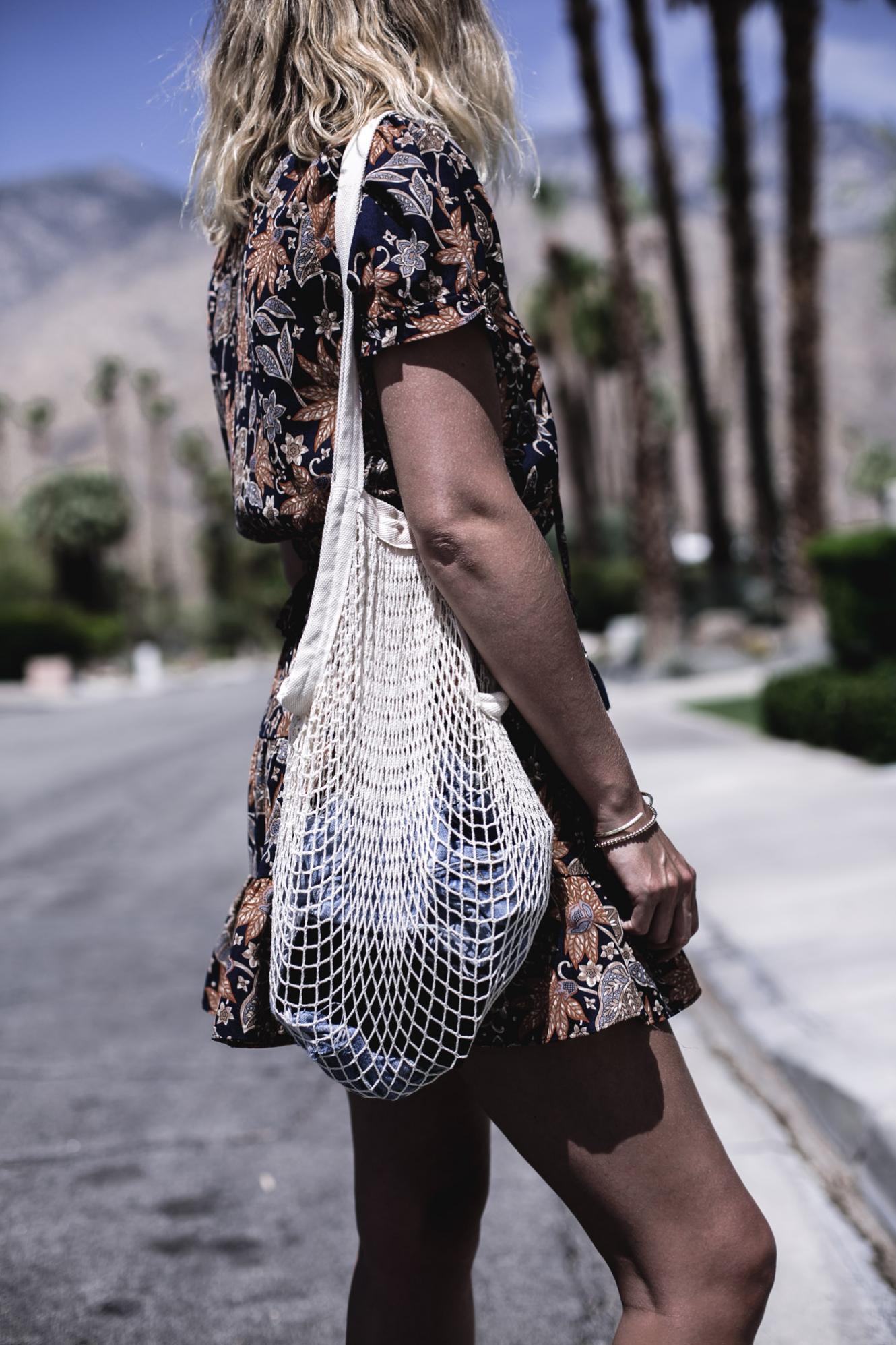 EJ Style | String net bag, orange and navy floral summer dress