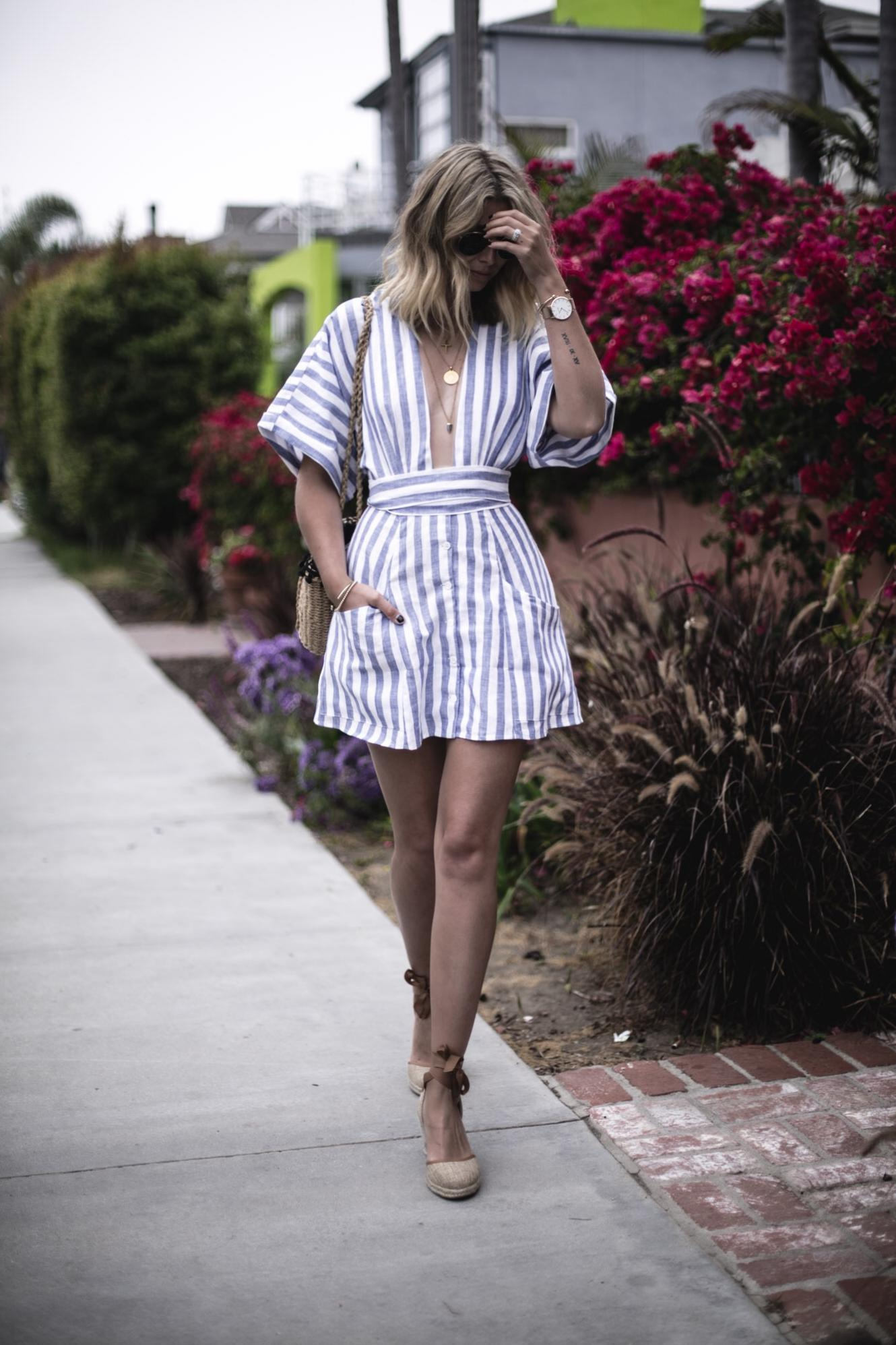 EJ Style | Blue white stripe linen dress by Reformation, ASOS wedge espadrilles, Venice canals in Los Angeles California