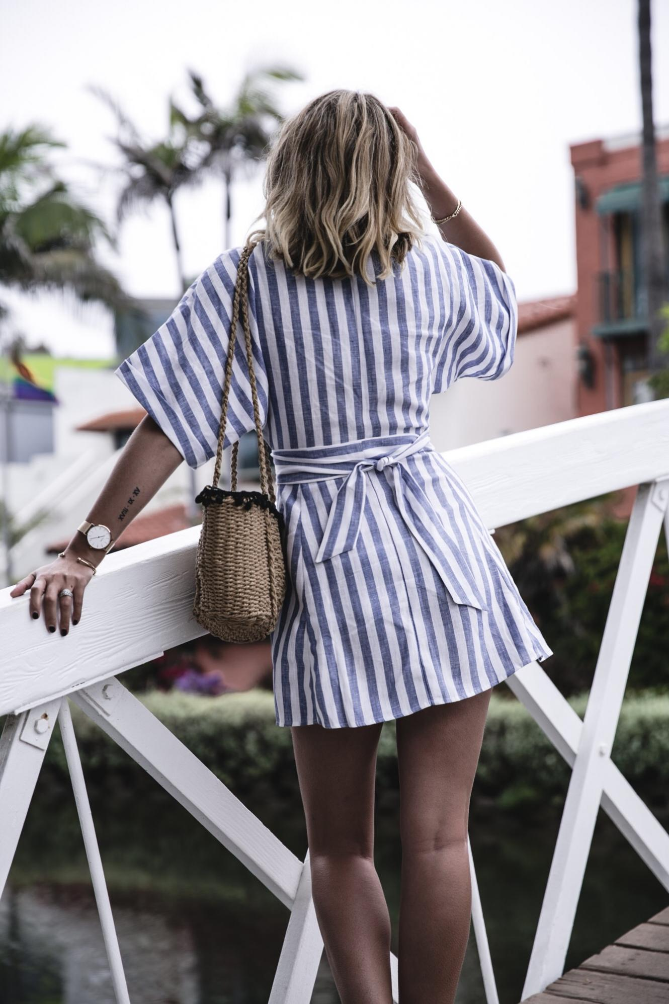 EJ Style | Blue white stripe linen dress by Reformation, Venice canals in Los Angeles California