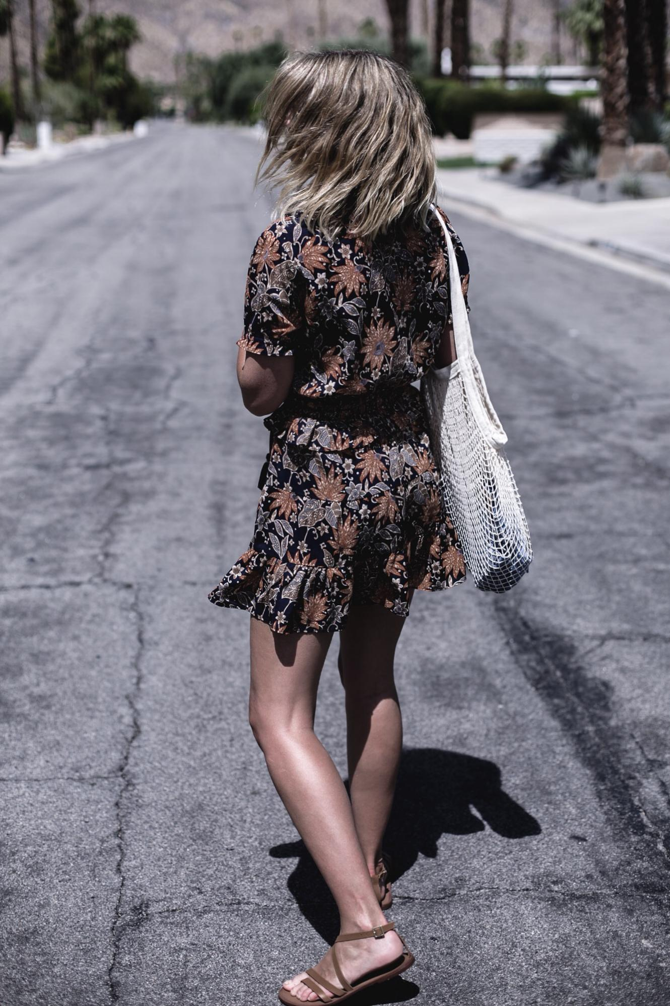 EJ Style   String net bag, orange and navy floral summer dress, tan scrappy sandals, Palm Springs California, Summer outfit style