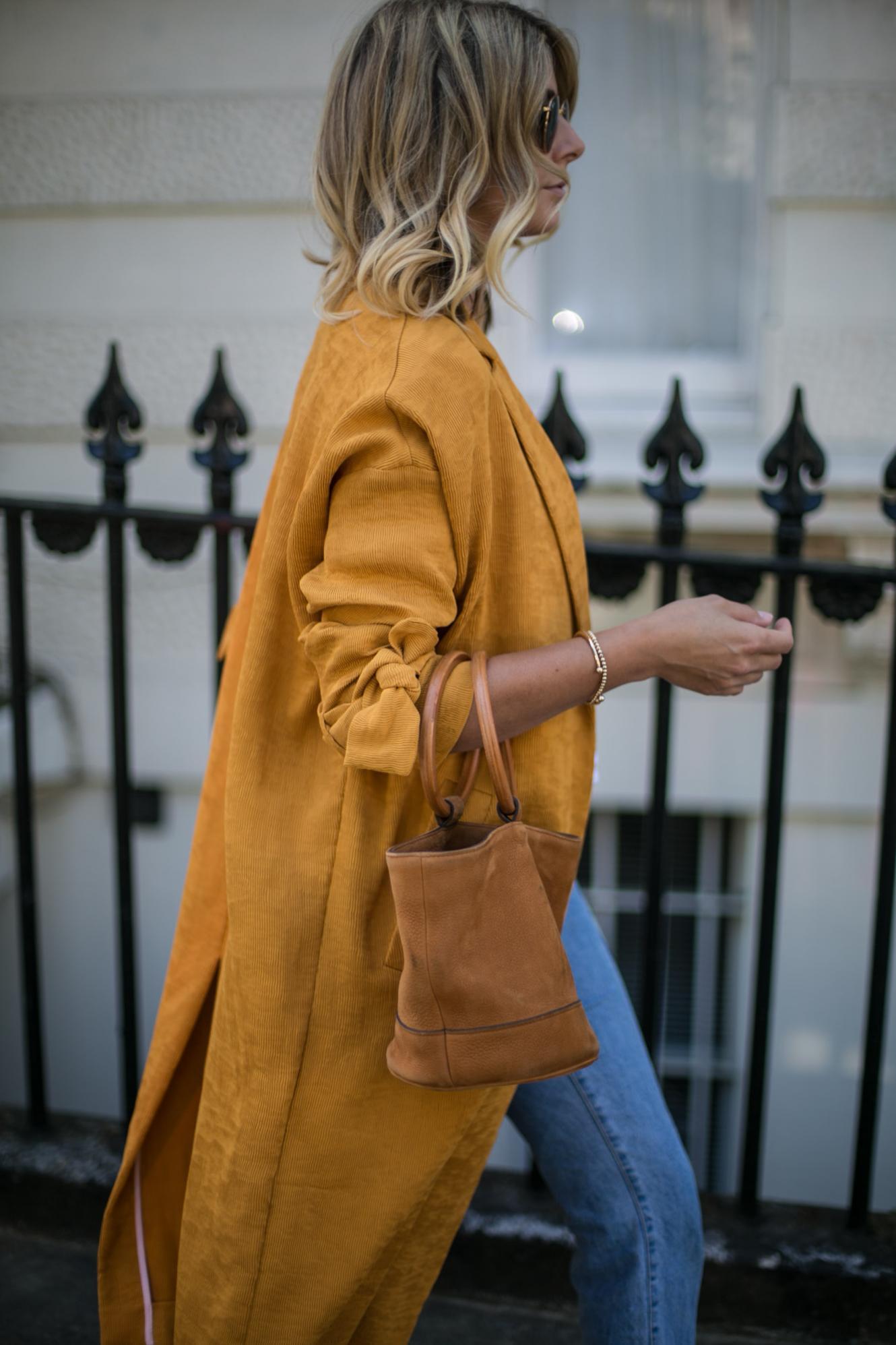 Mustard yellow duster coat