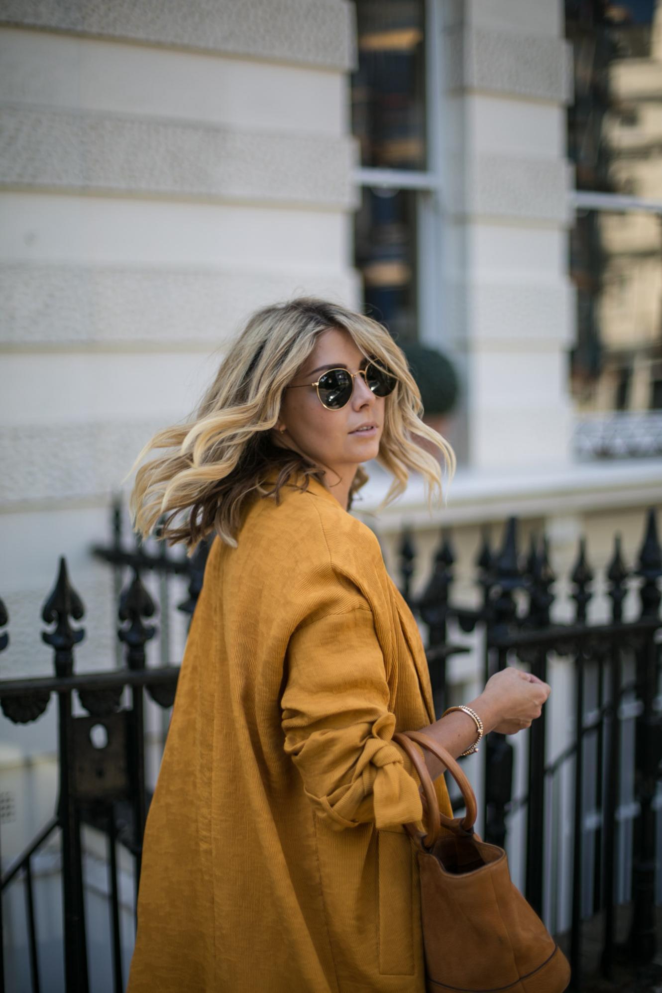 Mustard duster coat, simon miller bonsai bag