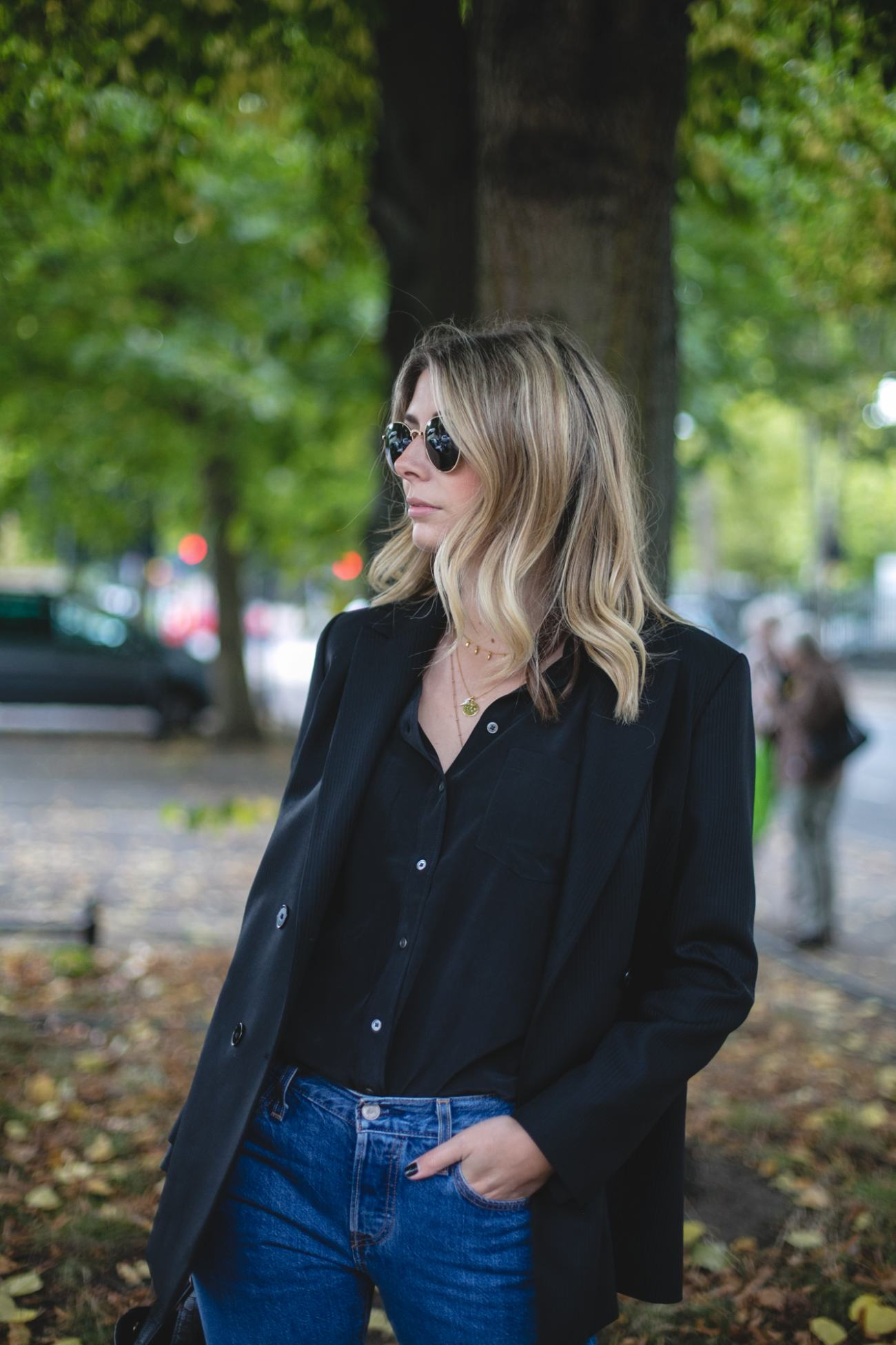 Autumn Wardrobe Staples | Emma Hill wears Sandro blazer with a silk shirt