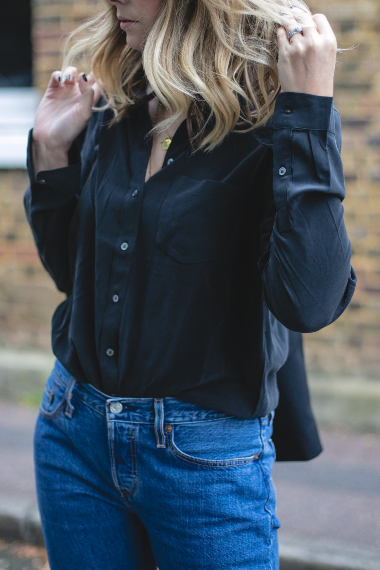 Autumn Wardrobe Staples | Emma Hill wears Levis black silk shirt