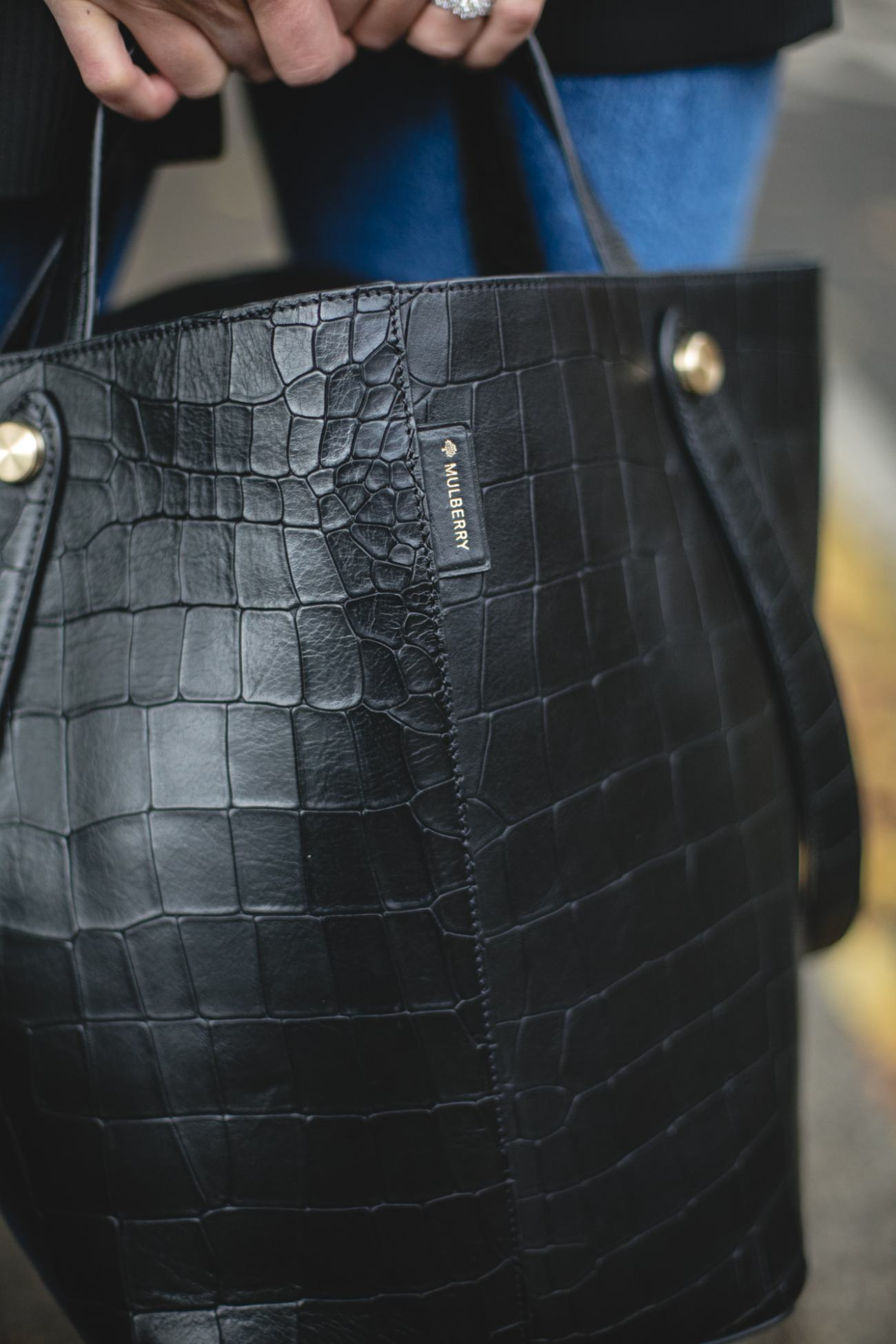 Autumn Wardrobe Staples | Emma Hill wears Mulberry black mock croc Kite tote bag