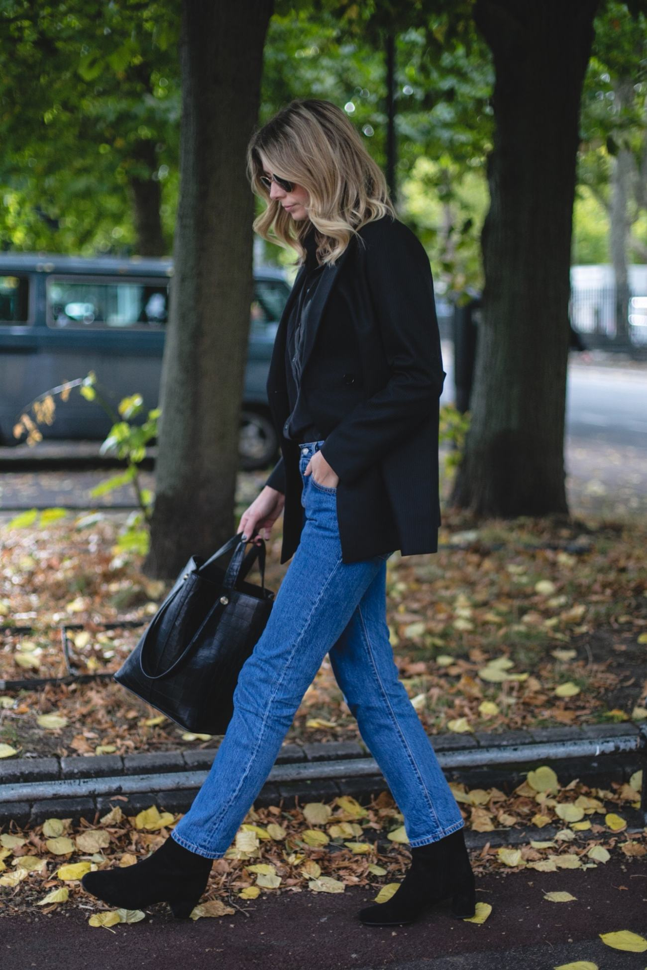 Autumn Wardrobe Staples | Emma Hill wears Sandro Blazer, silk shirt, Levis 501 CT jeans, Prada ankle boots, Mulberry Kite tote bag, chic fall outfit