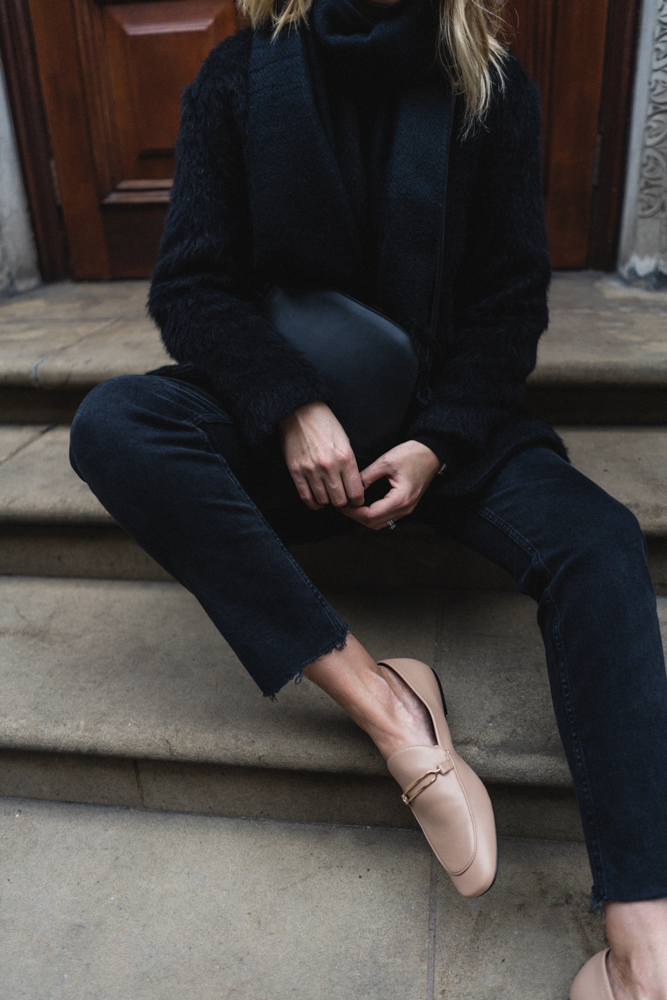 black with nude loafers-2