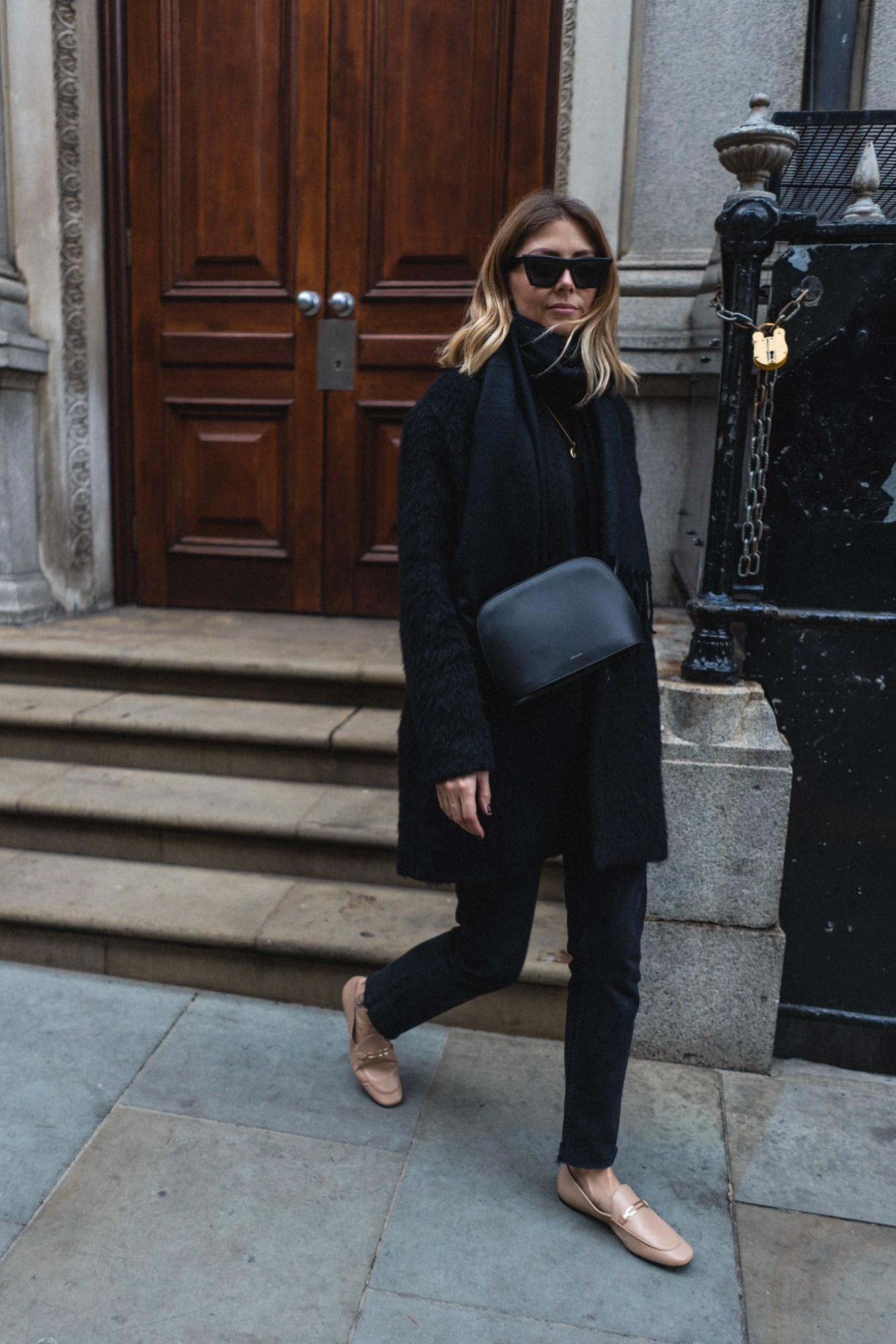 black with nude loafers