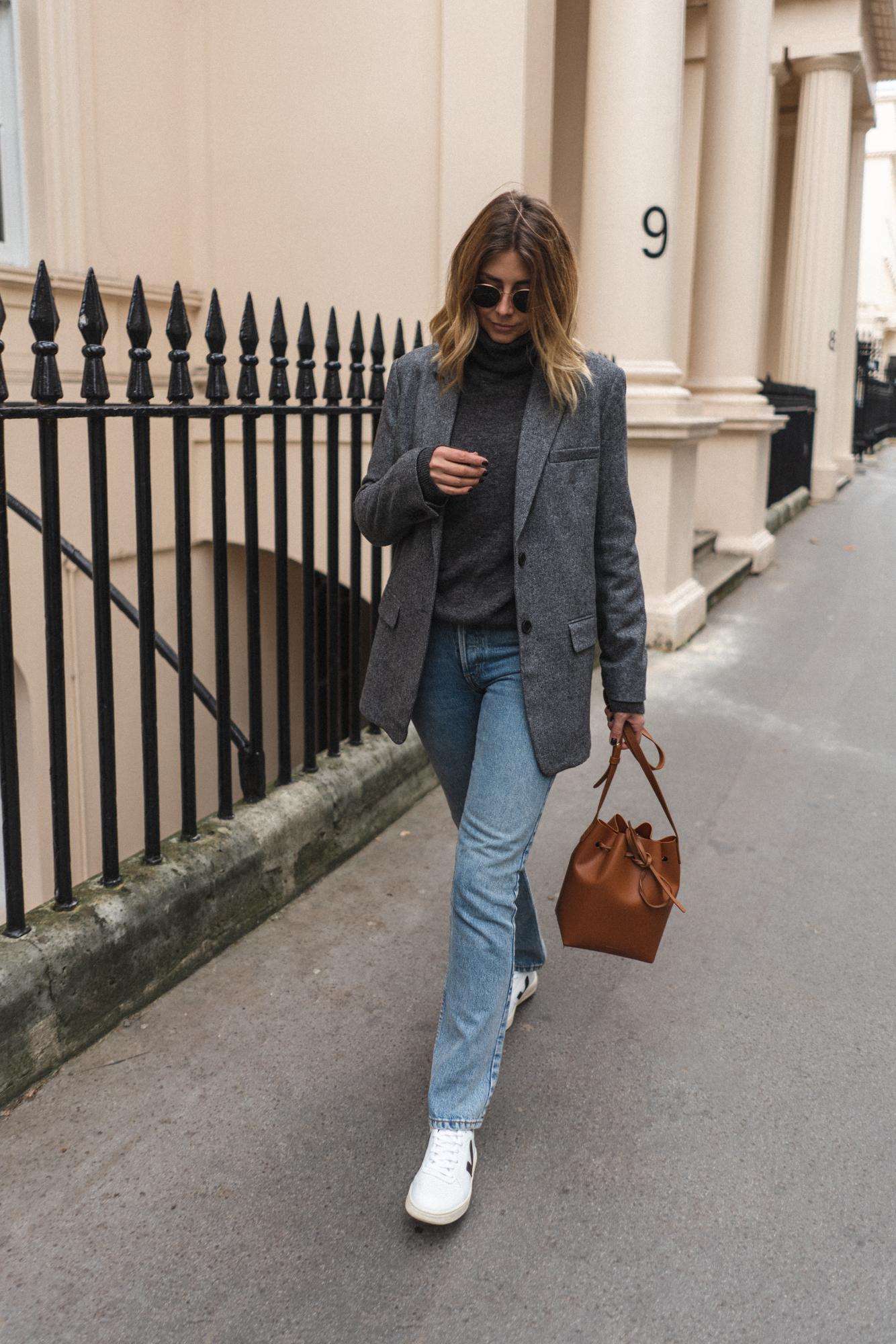 grey blazer grey jumper