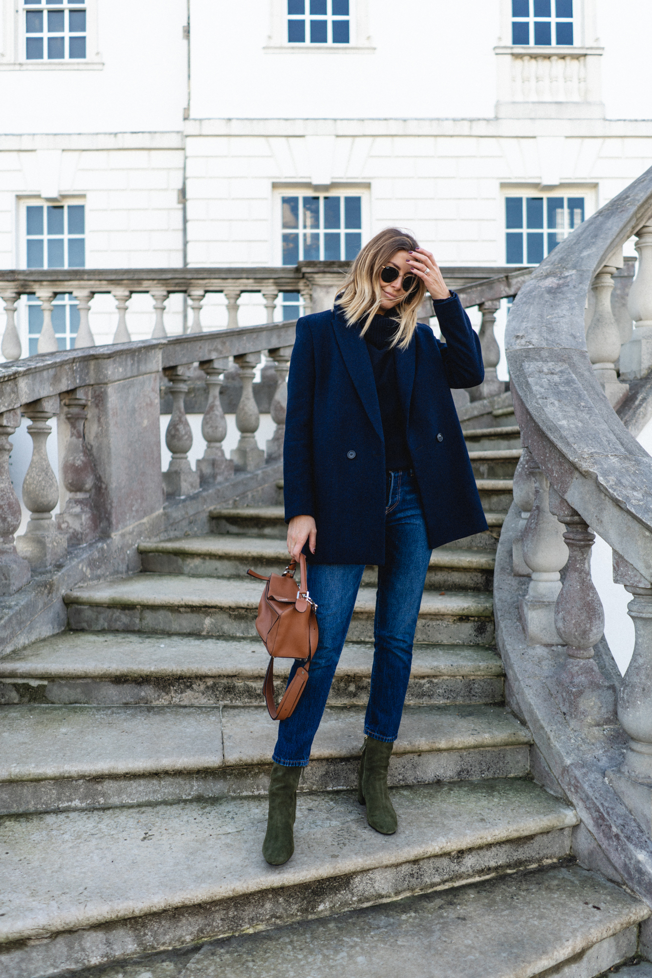 navy with green boots